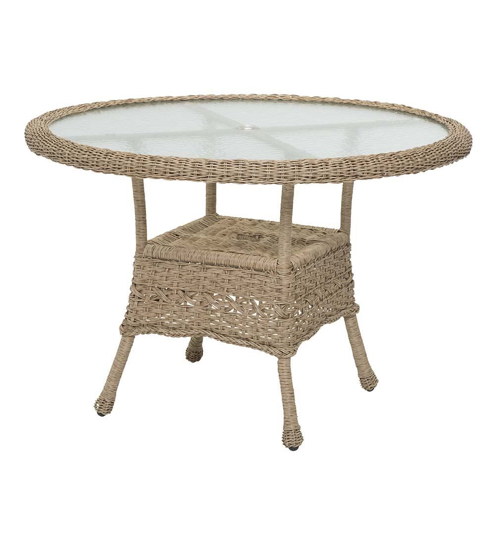 Prospect Hill Round Outdoor Wicker Dining Table Finish: Driftwood