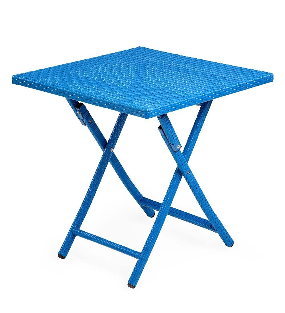Tangier Folding Wicker Side Table Color: Blue