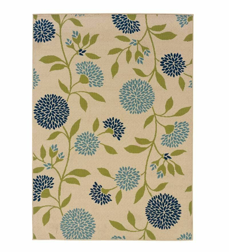 Floral Surry Rug Ivory Indoor/Outdoor Area Rug Rug Size: Rectangle 1'25