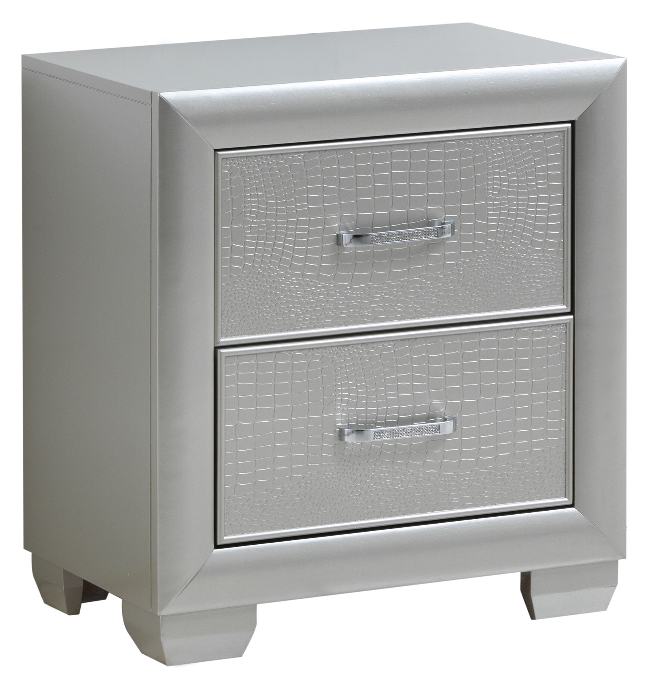Aguilera 2 Drawer Nightstand Color: Silver Champagne