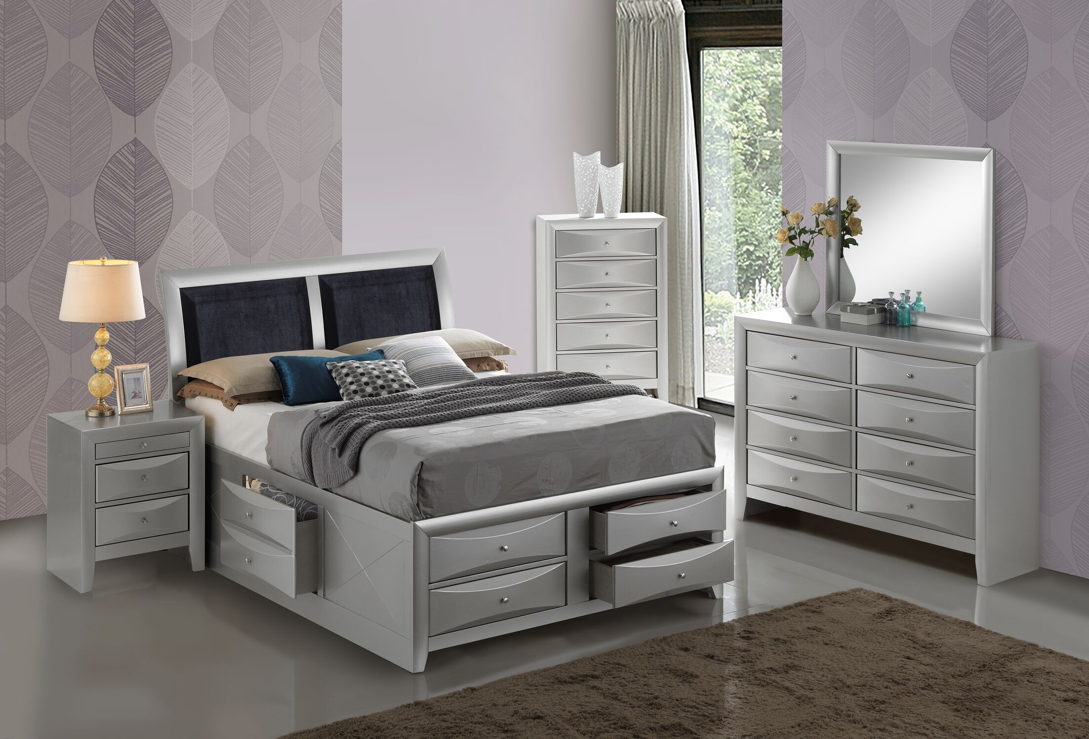 Medford Storage Upholstered Platform Bed Size: Twin, Color: Silver
