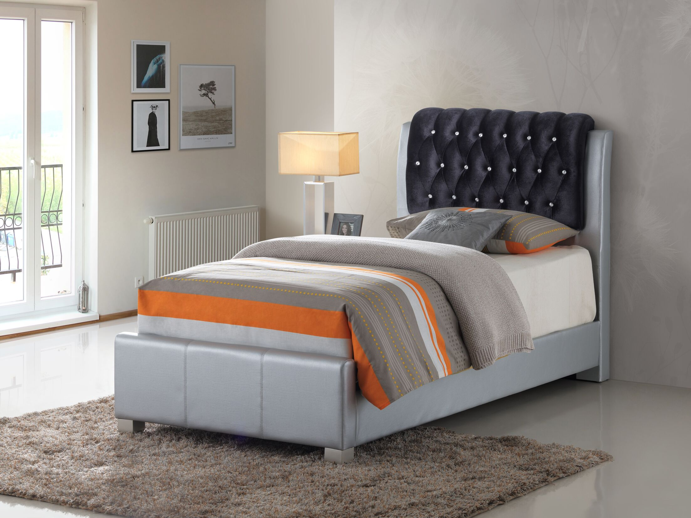 Medford Upholstered Panel Bed Size: Twin, Color: Silver