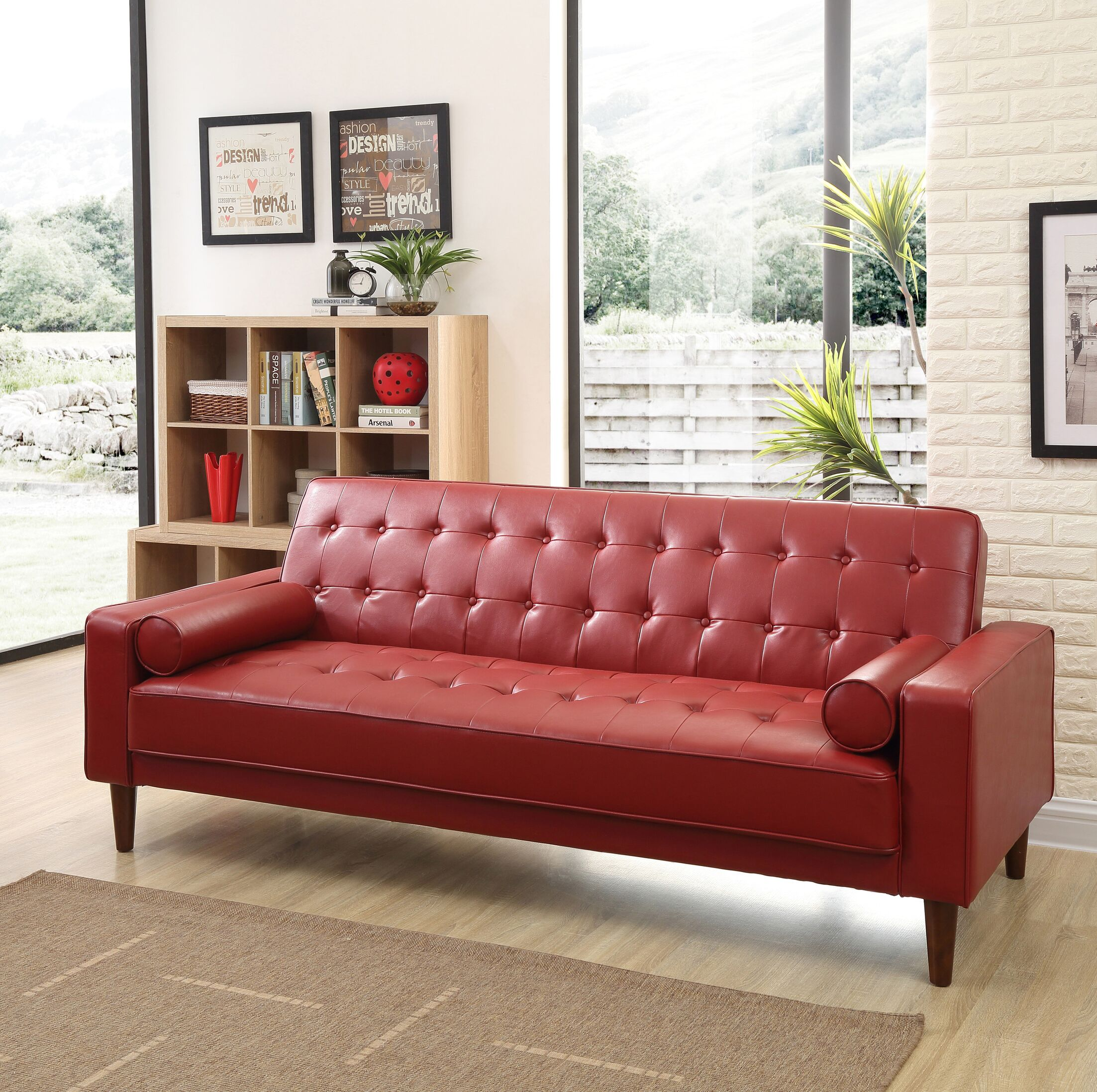 Shayne Convertible Sofa Upholstery: Red