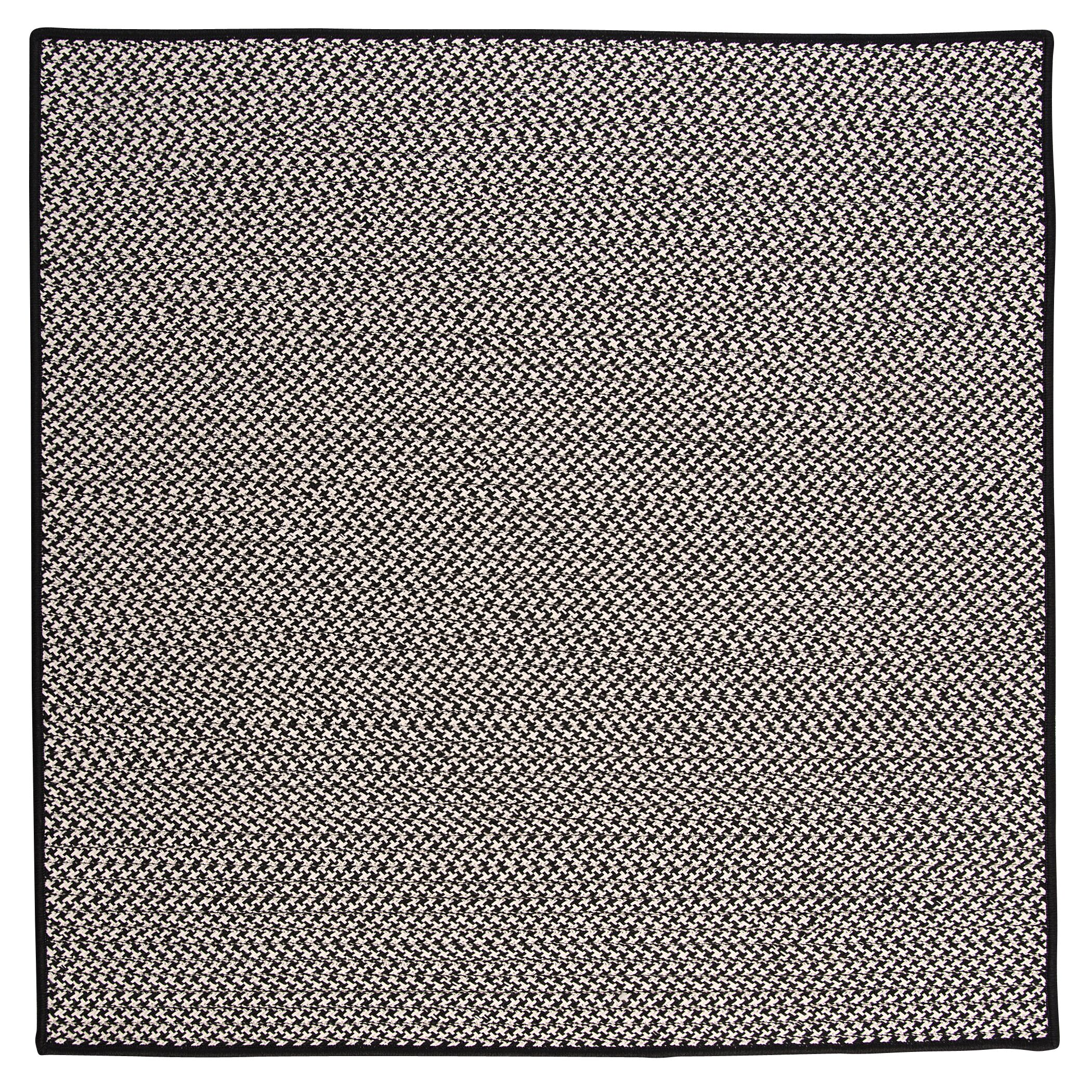 Outdoor Houndstooth Tweed Black Rug Rug Size: Square 6'