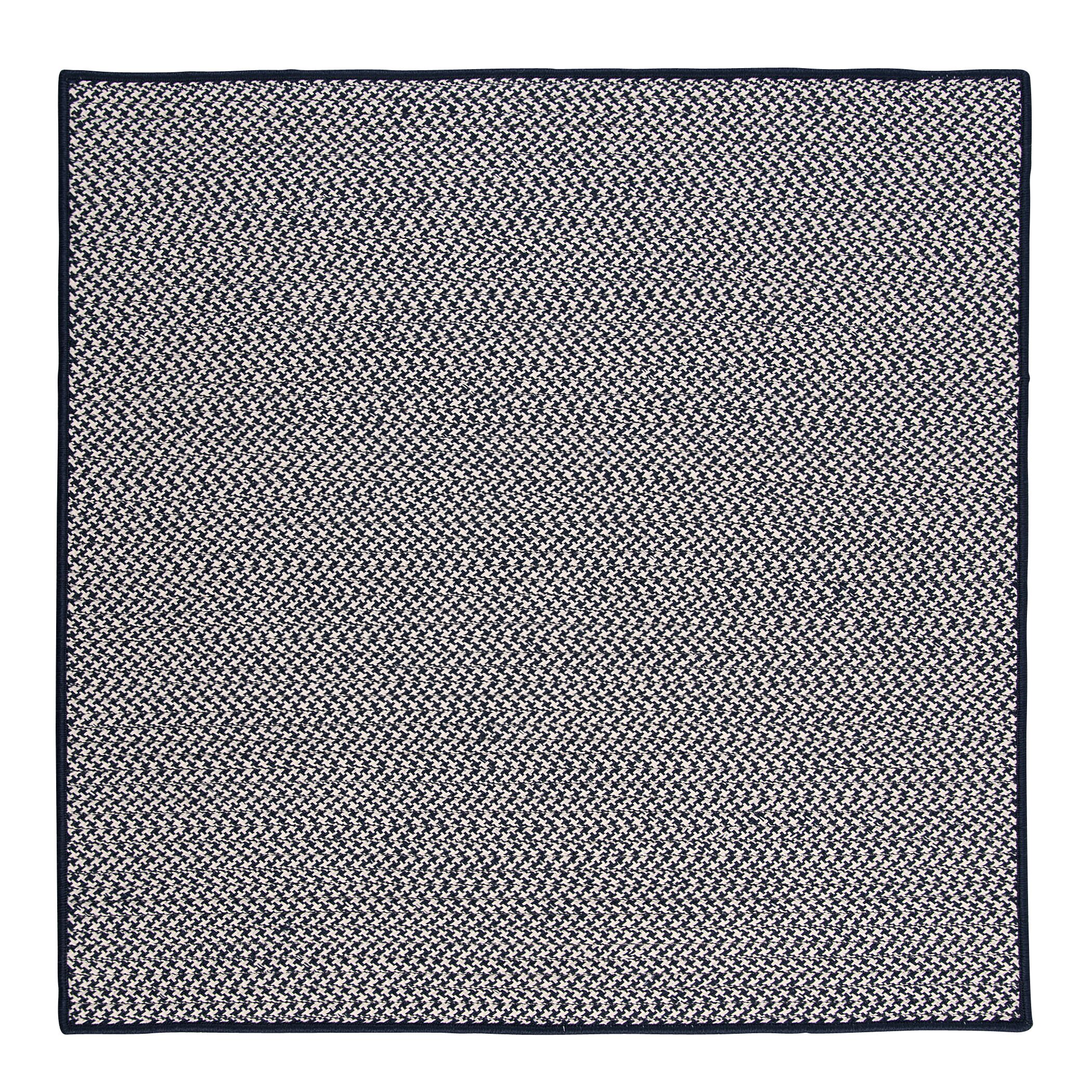 Outdoor Houndstooth Tweed Navy Rug Rug Size: Square 10'