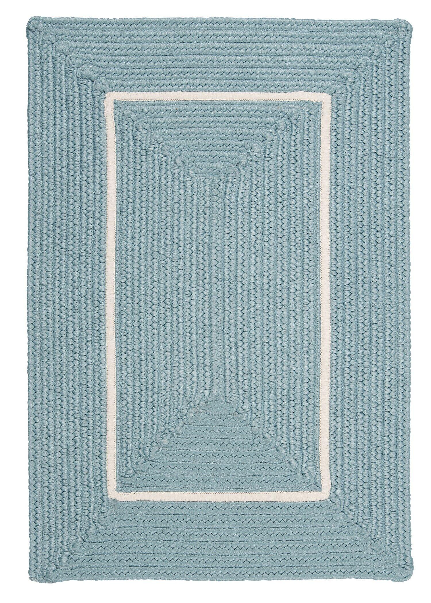 Doodle Edge Light Blue Border in Border Indoor/Outdoor Area Rug Rug Size: 5' x 7'