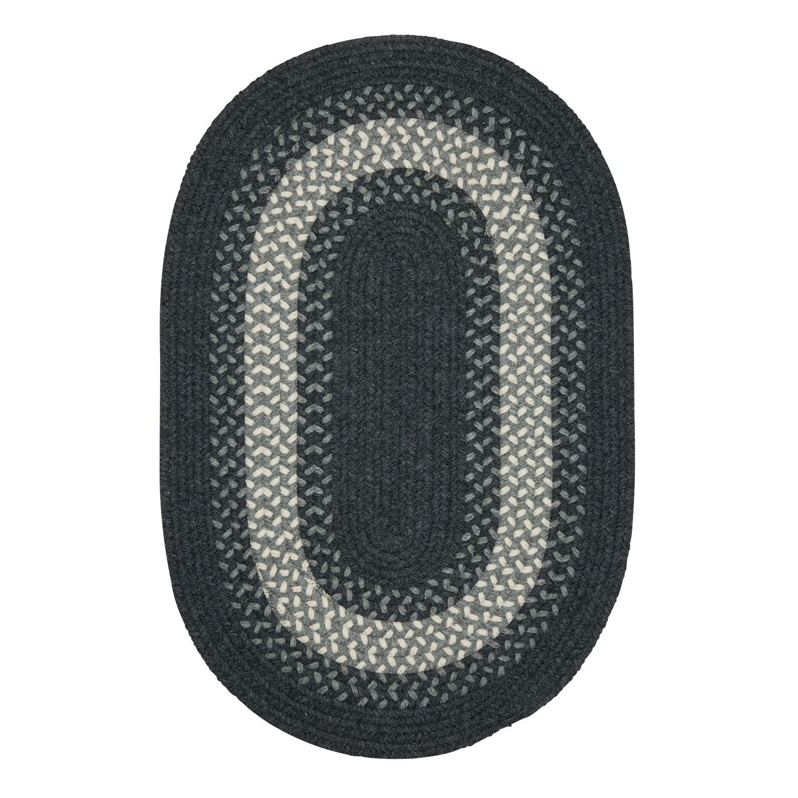 Serafin Hand-Woven Wool Charcoal Area Rug Rug Size: Round 4'