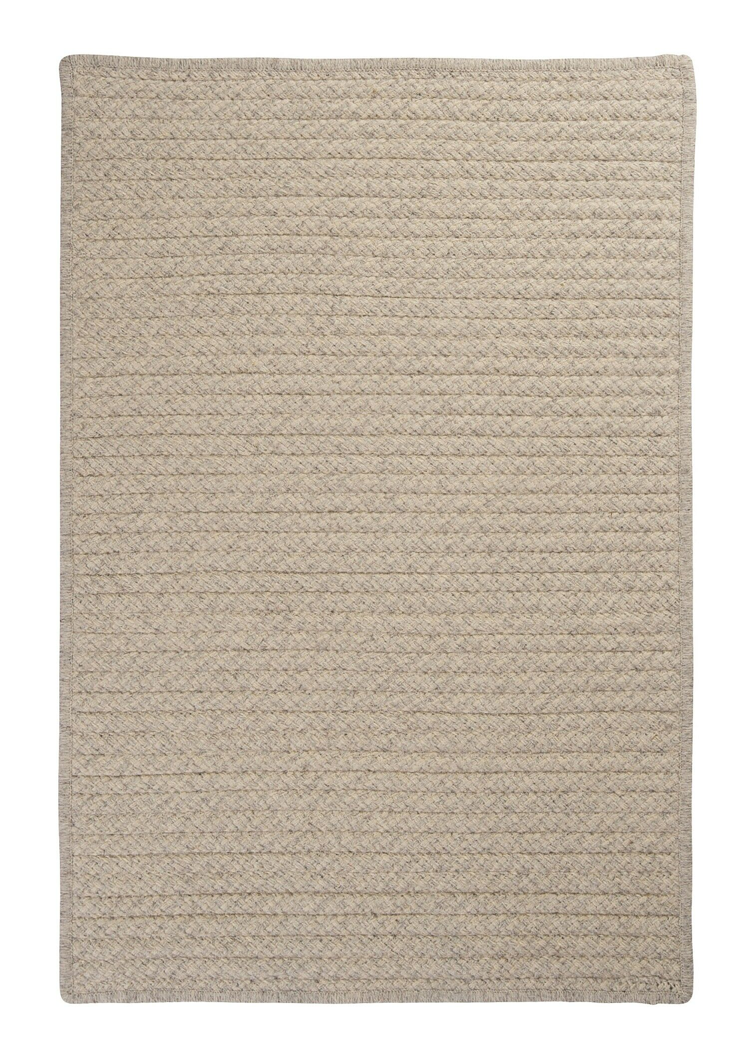 Natural Wool Houndstooth Braided Cream Area Rug Rug Size: Square 12'