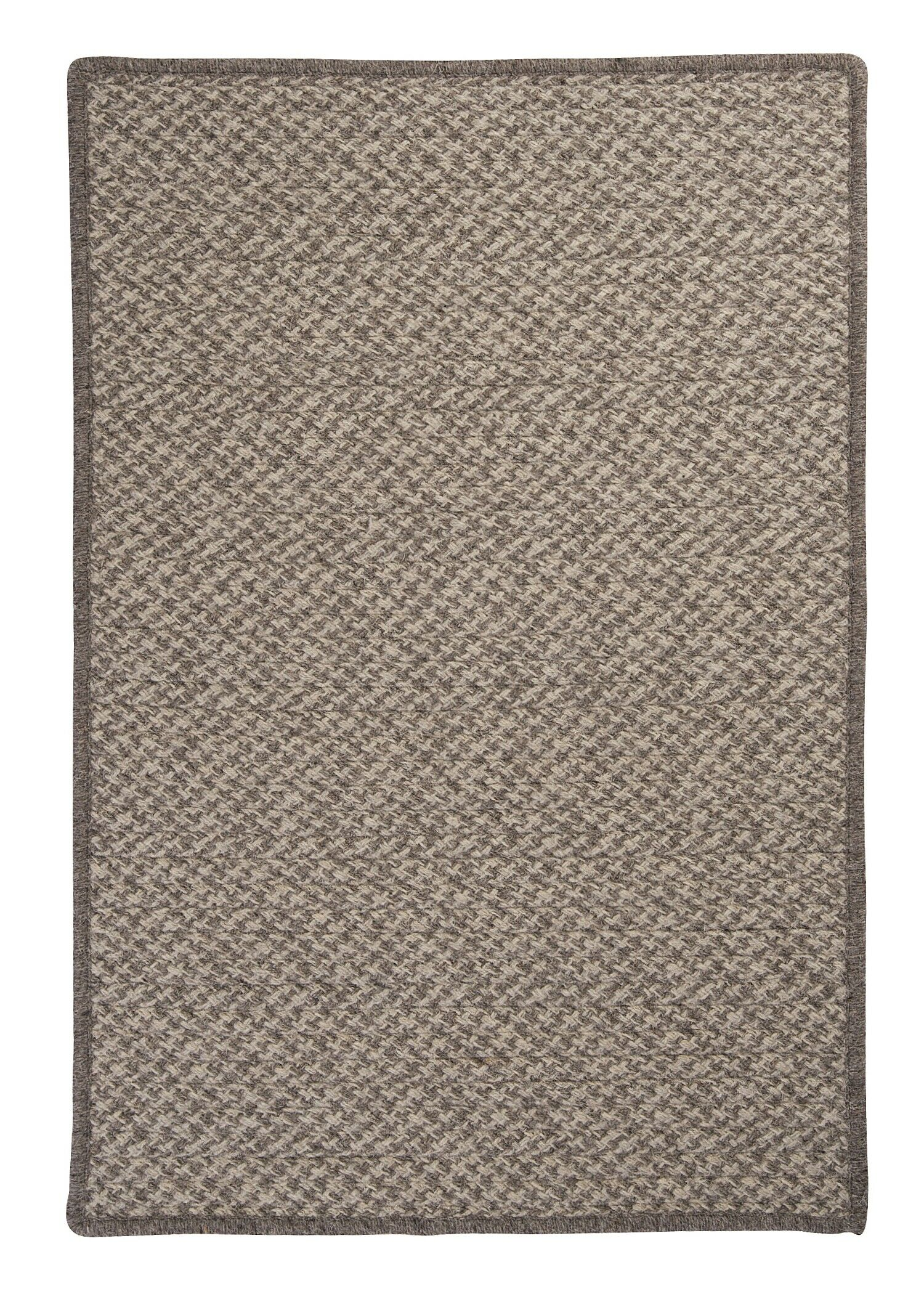 Natural Wool Houndstooth Braided Latte Area Rug Rug Size: Square 6'