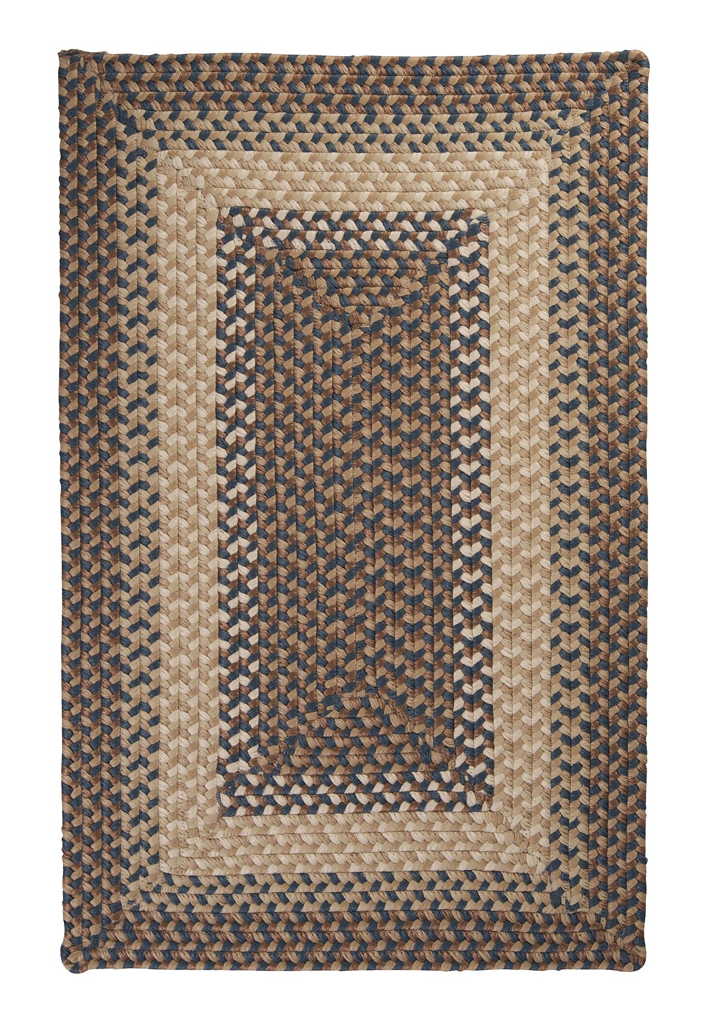 Tiburon Stone & Blue Braided Indoor/Outdoor Area Rug Rug Size: Rectangle 10' x 13'