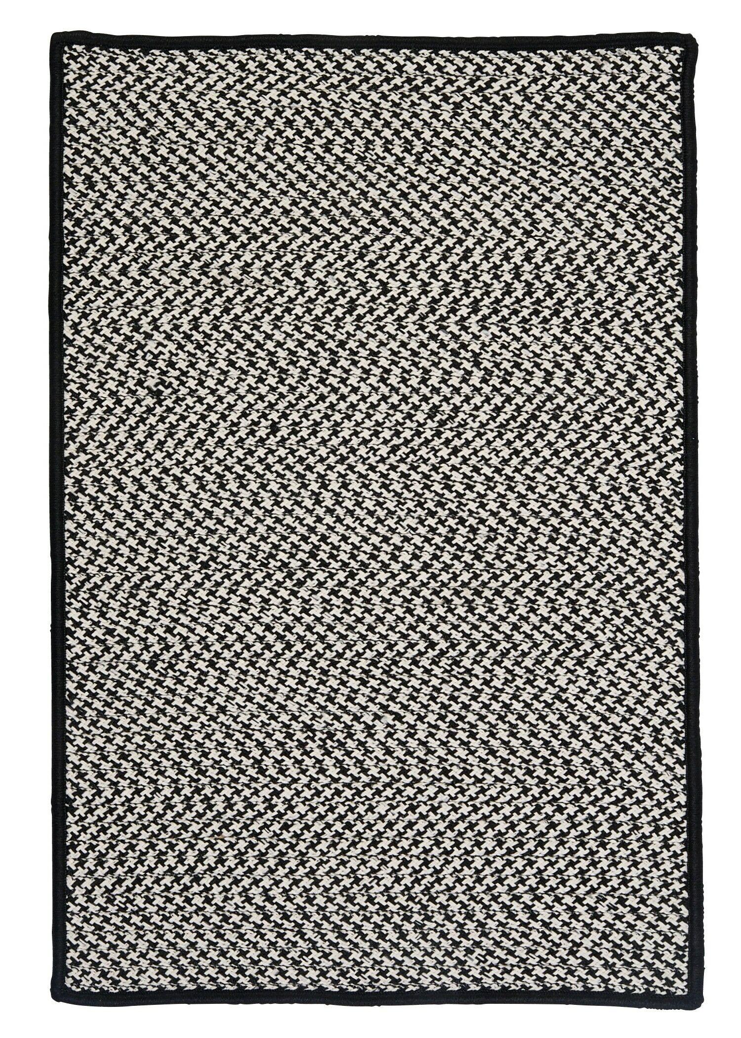 Outdoor Houndstooth Tweed Black Rug Rug Size: Rectangle 3' x 5'