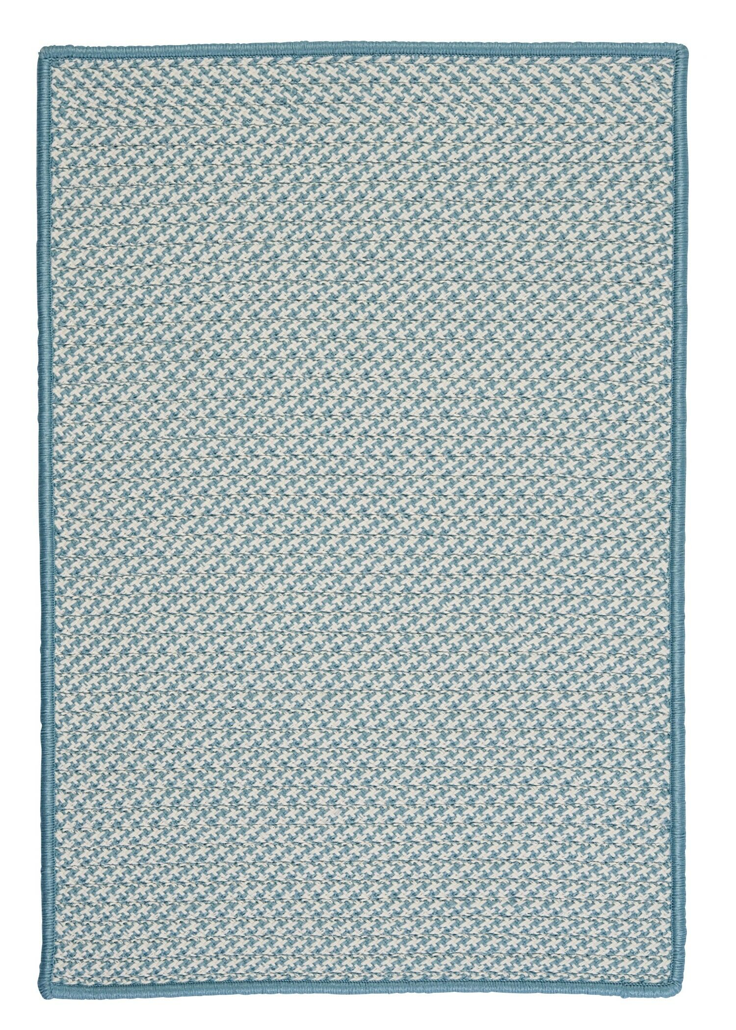 Outdoor Houndstooth Tweed Sea Blue Area Rug Rug Size: Rectangle 7' x 9'