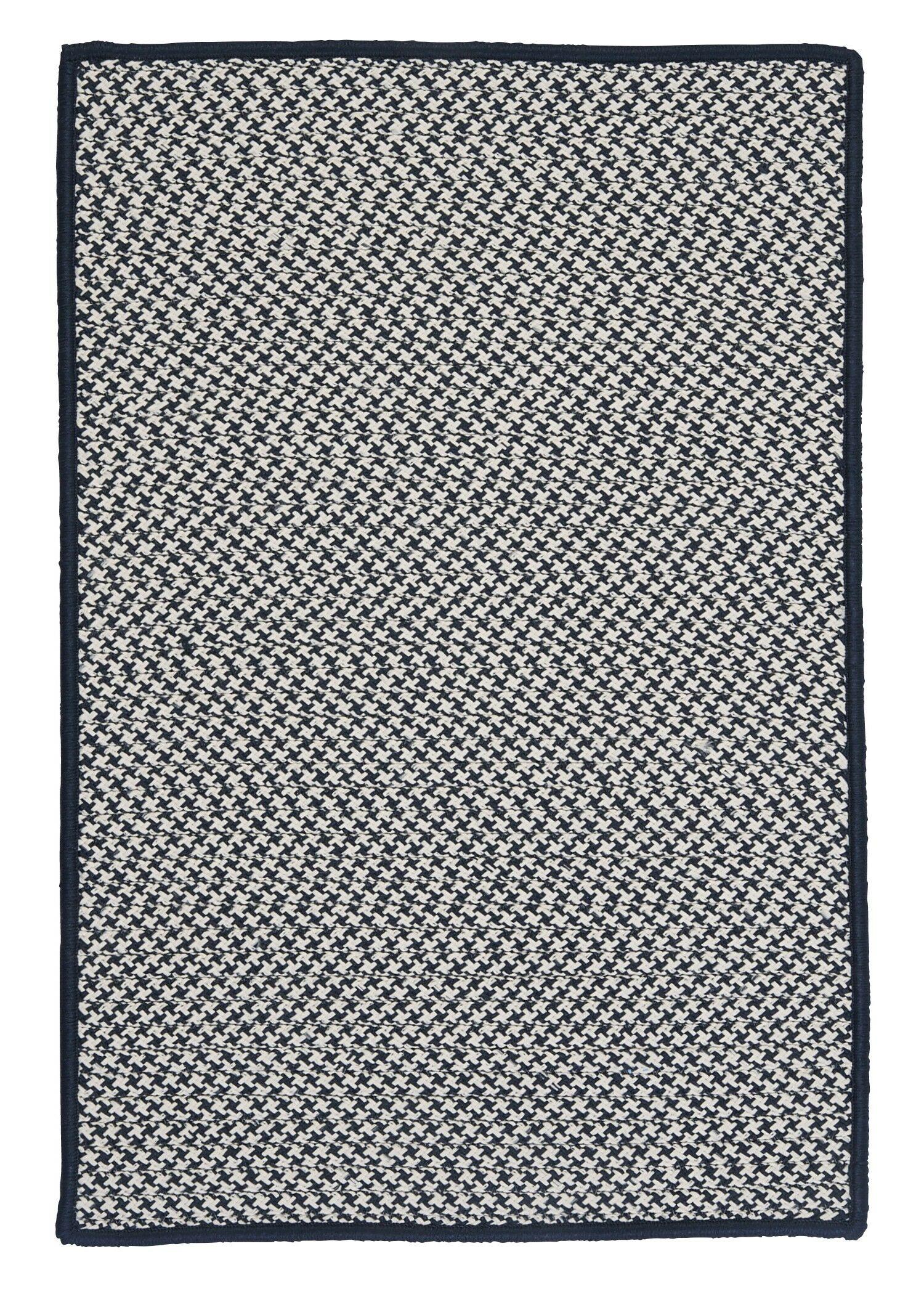 Outdoor Houndstooth Tweed Navy Rug Rug Size: Rectangle 2' x 4'