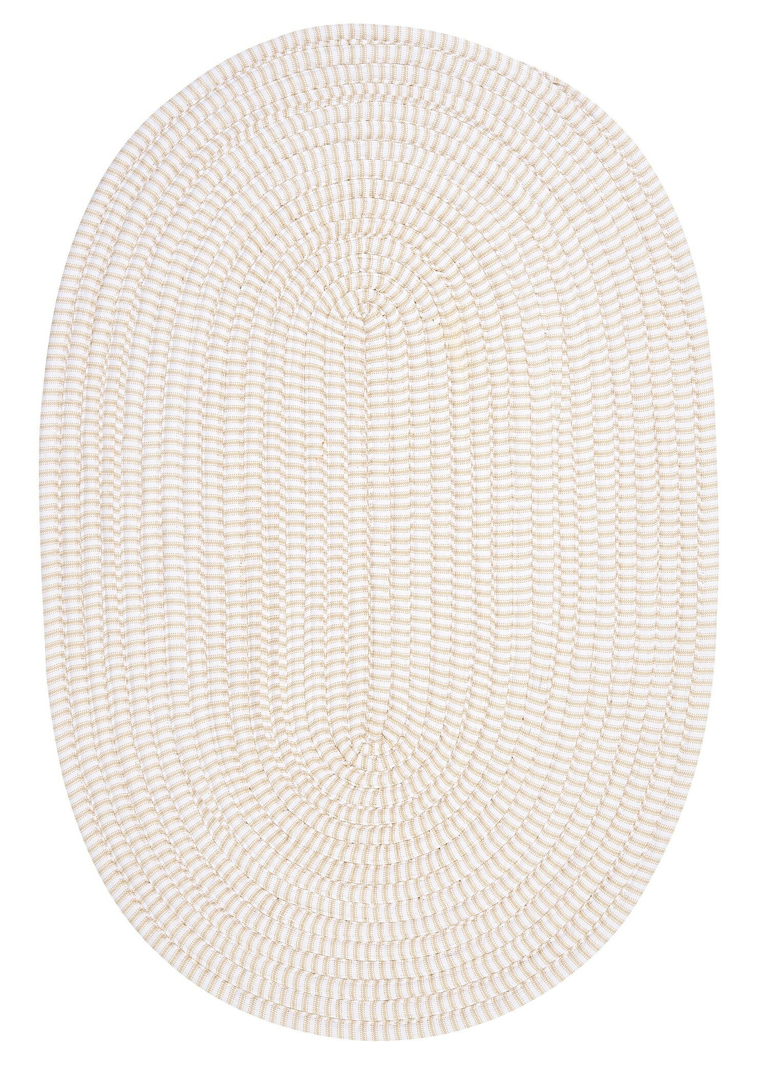 Ticking Stripe Canvas Light Gray Area Rug Rug Size: Round 10'
