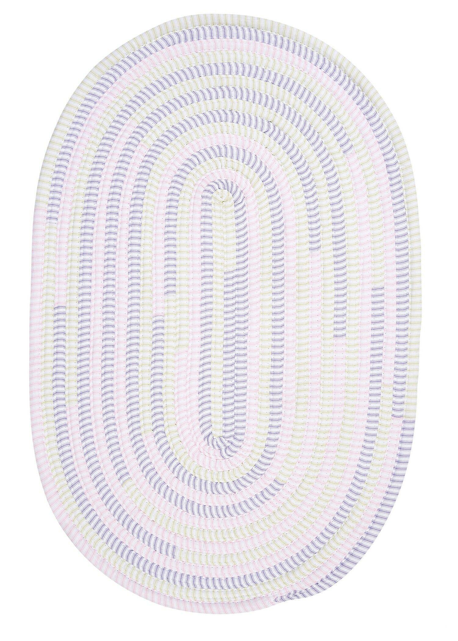 Ticking Stripe Dreamland Purple Area Rug Rug Size: Round 10'