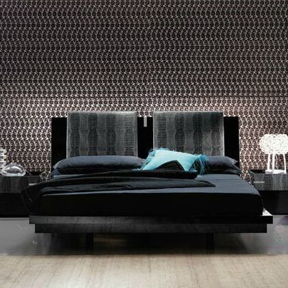 Diamond Bedroom Platform Bed Size: King, Color: Black