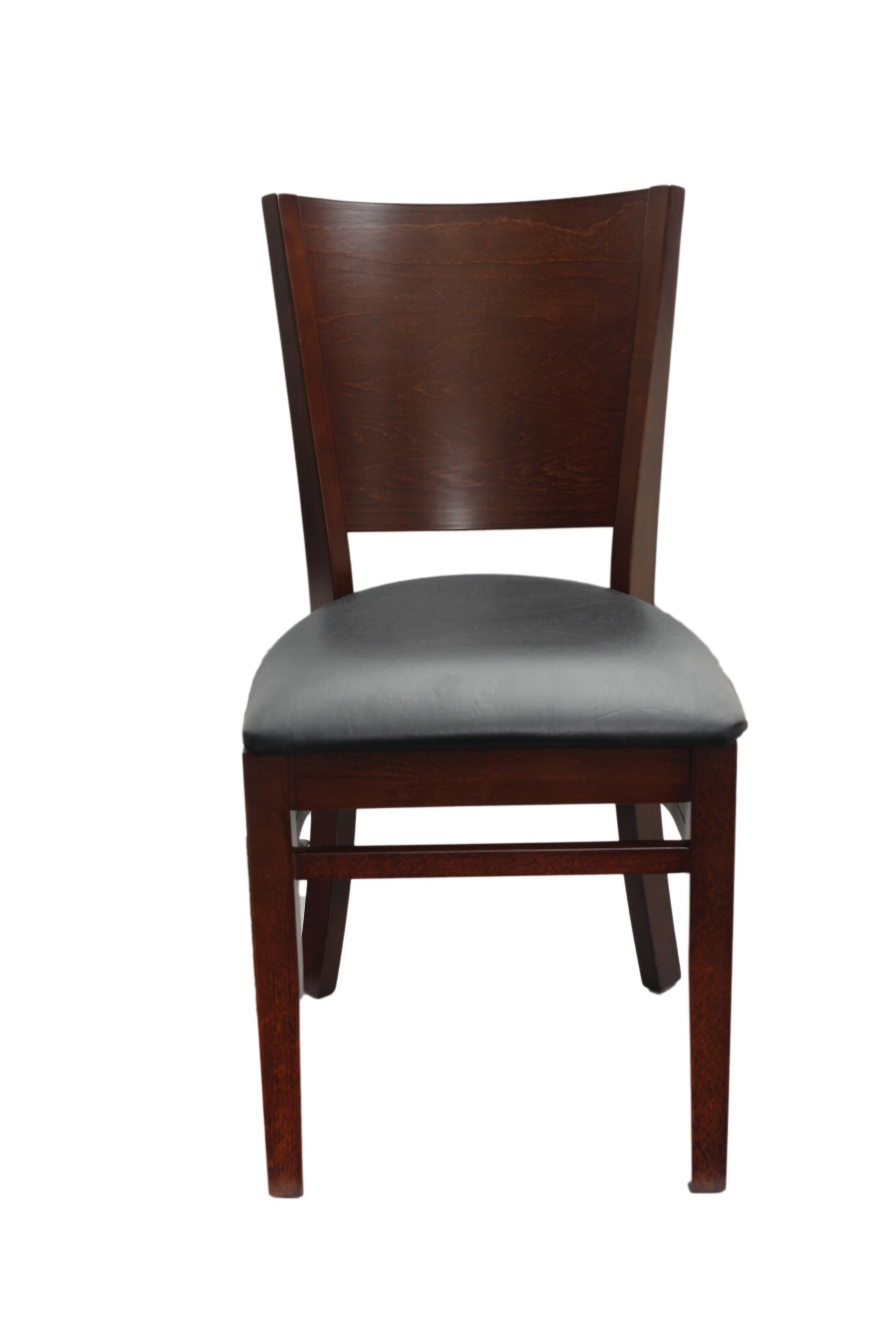 Series Melissa Side Chair Finish: Walnut, Upholstery Color: Black Vinyl Padded