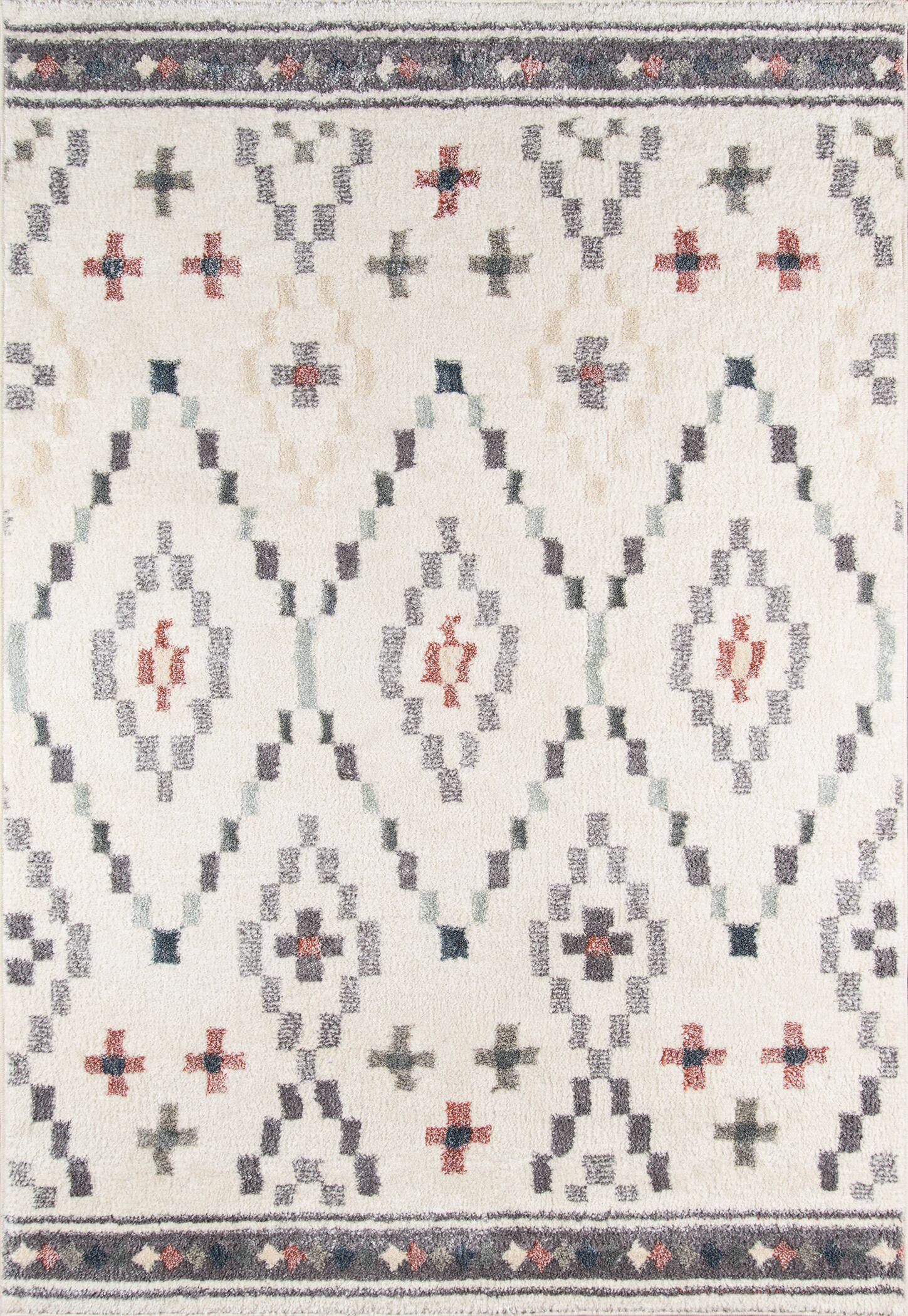 Rundell Geometric Ivory Area Rug Rug Size: Rectangle 3'11