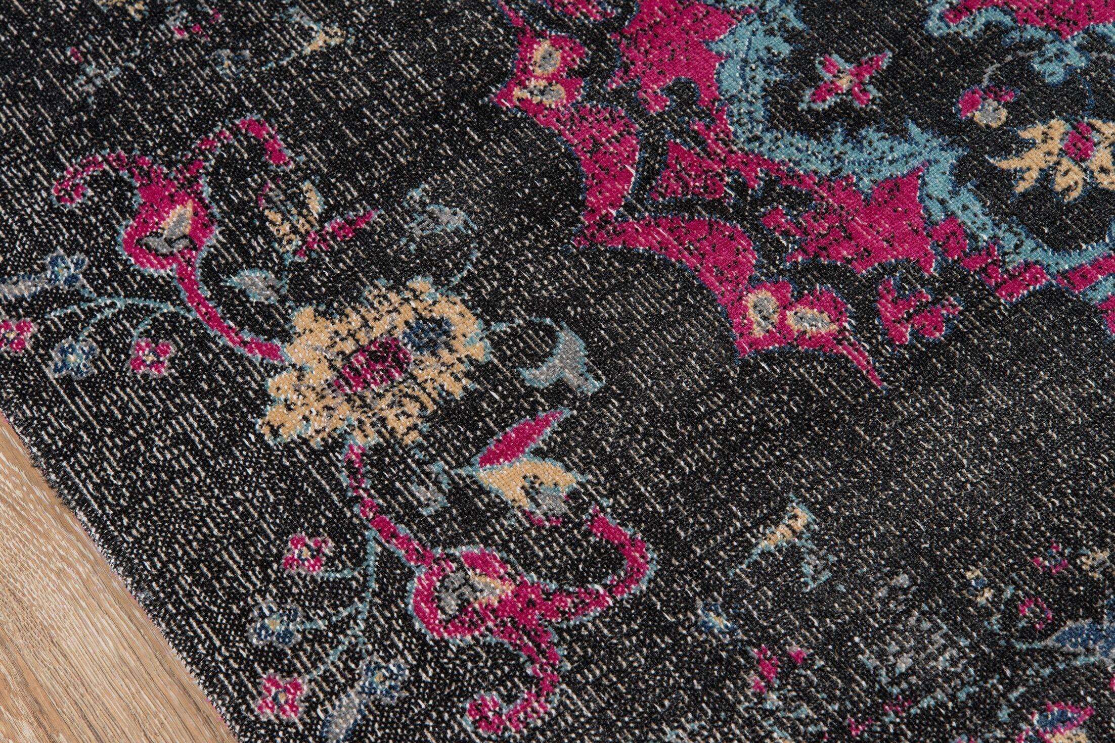 Thadine Charcoal Oriental Area Rug Rug Size: Rectangle 5'3