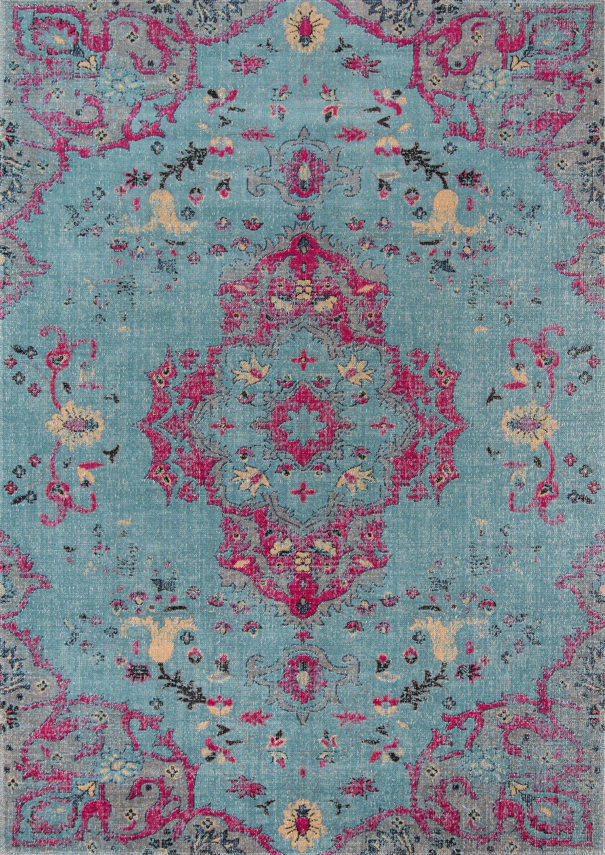 Thadine Blue Oriental Area Rug Rug Size: Rectangle 7'10