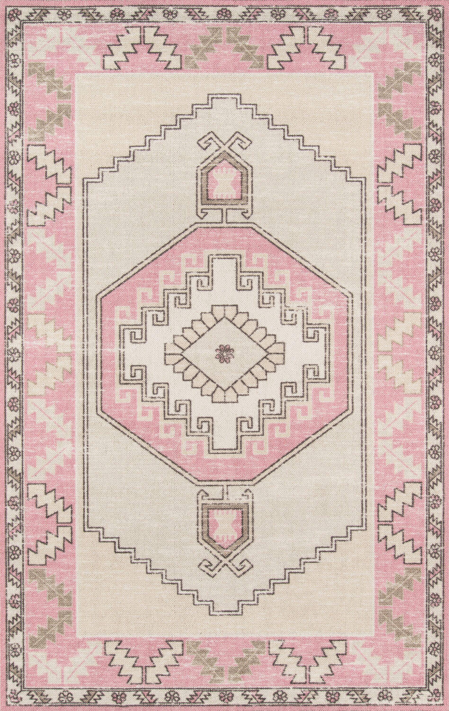 Moyer Indoor Pink Area Rug Rug Size: Rectangle 9'9