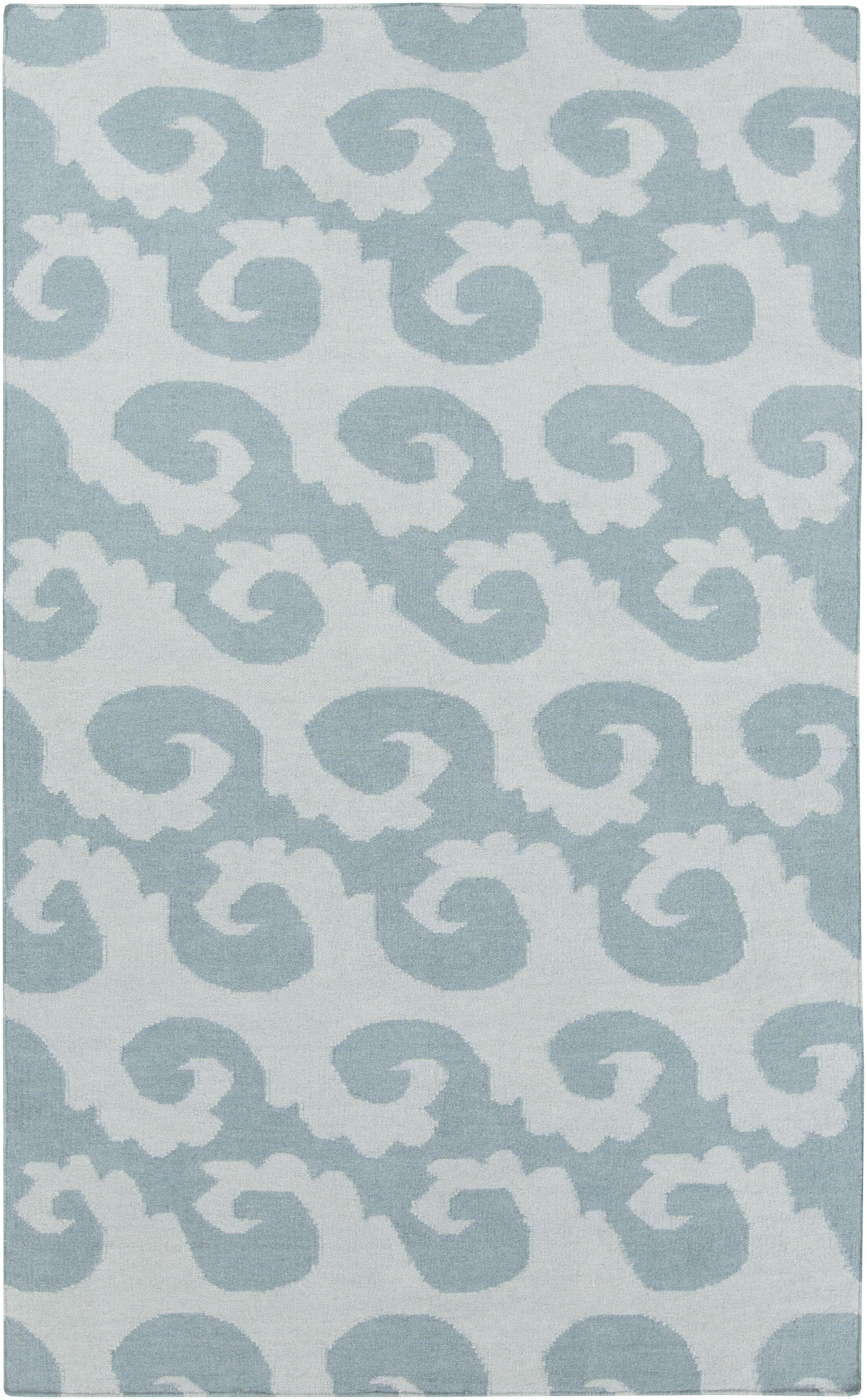 Byington Coastal Hand-Woven Wool Sky Blue Area Rug Rug Size: Rectangle 5' x 8'