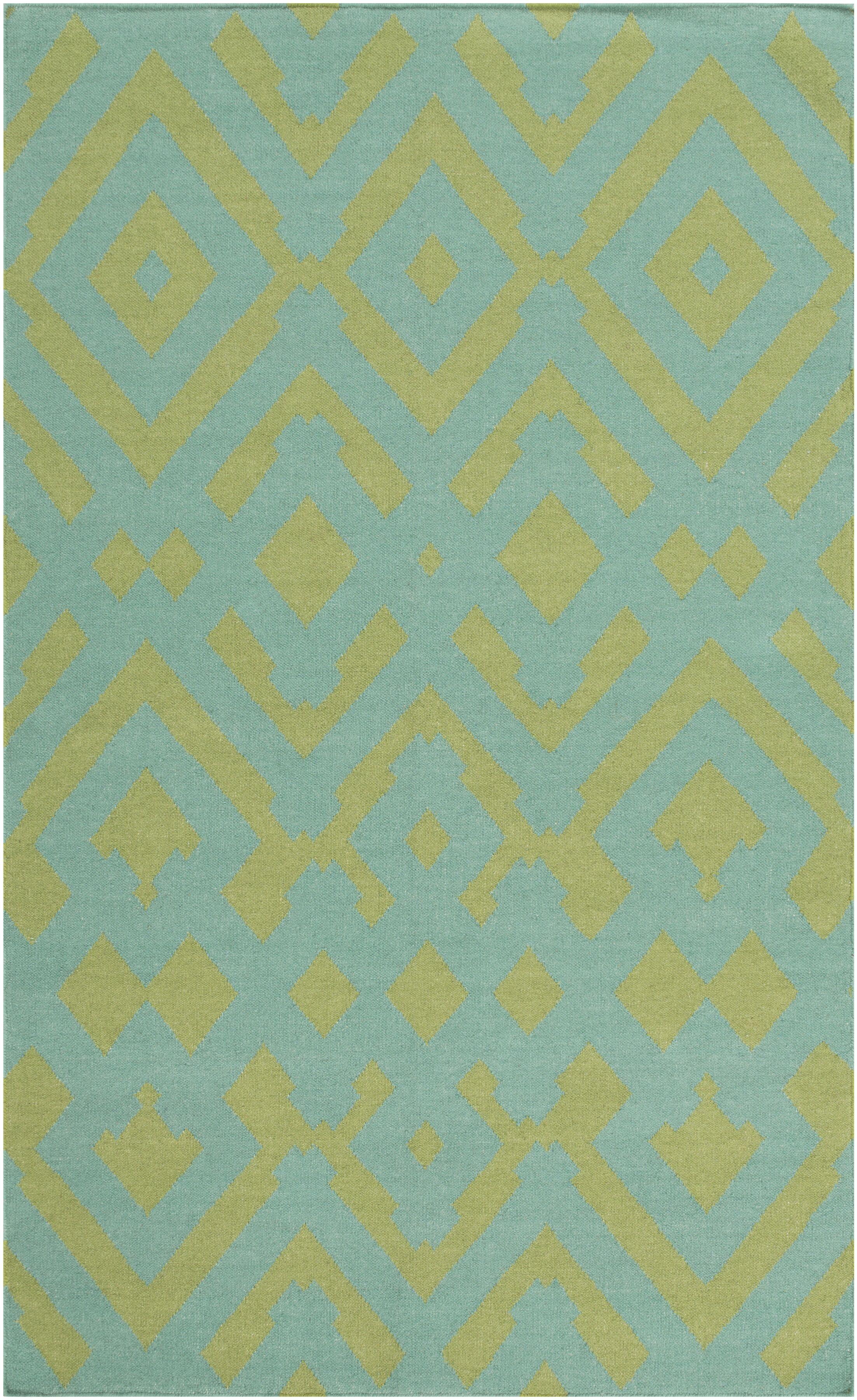 Hemel Teal/Moss Geometric Area Rug Rug Size: Rectangle 5' x 8'