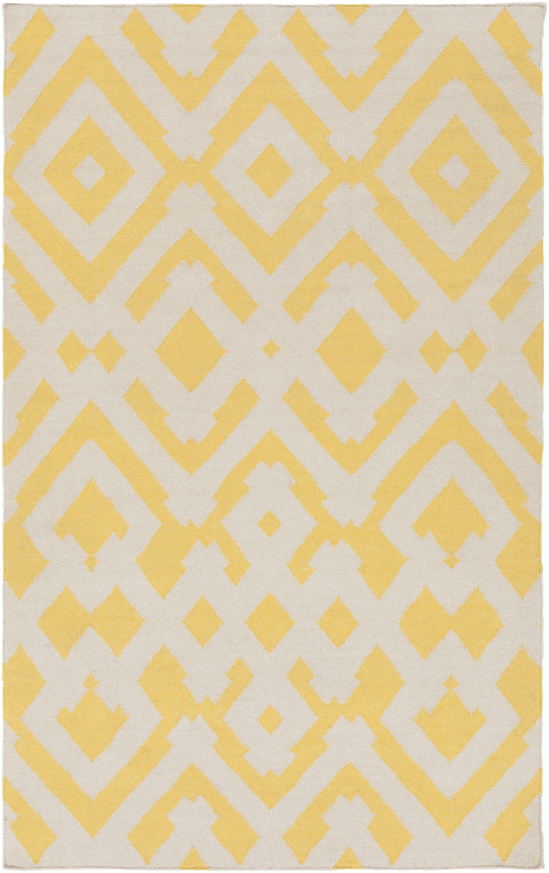 Hemel Beige/Gold Geometric Area Rug Rug Size: Rectangle 5' x 8'