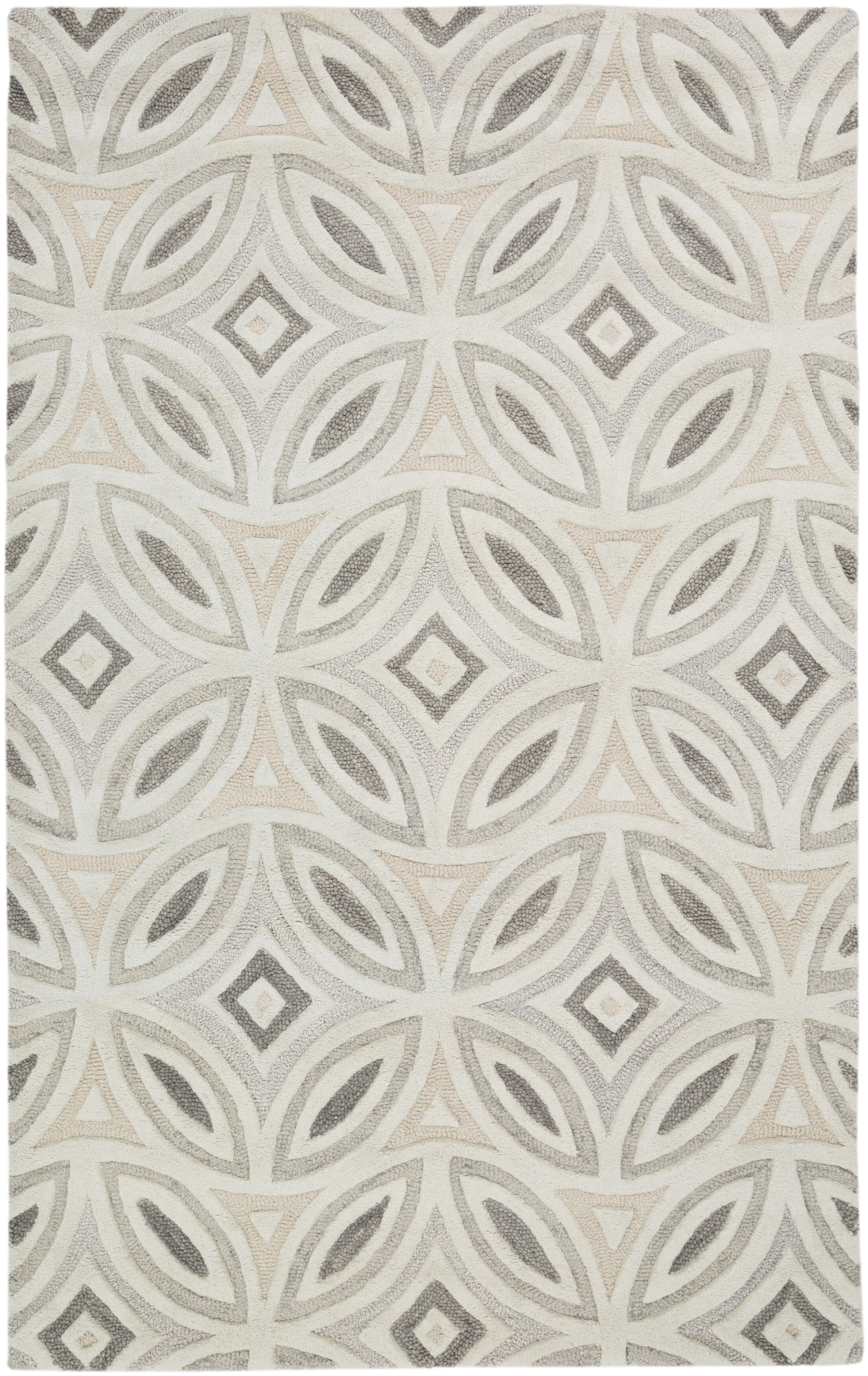 Quinn Geometric Beige/Light Gray Area Rug Rug Size: Rectangle 8' x 11'