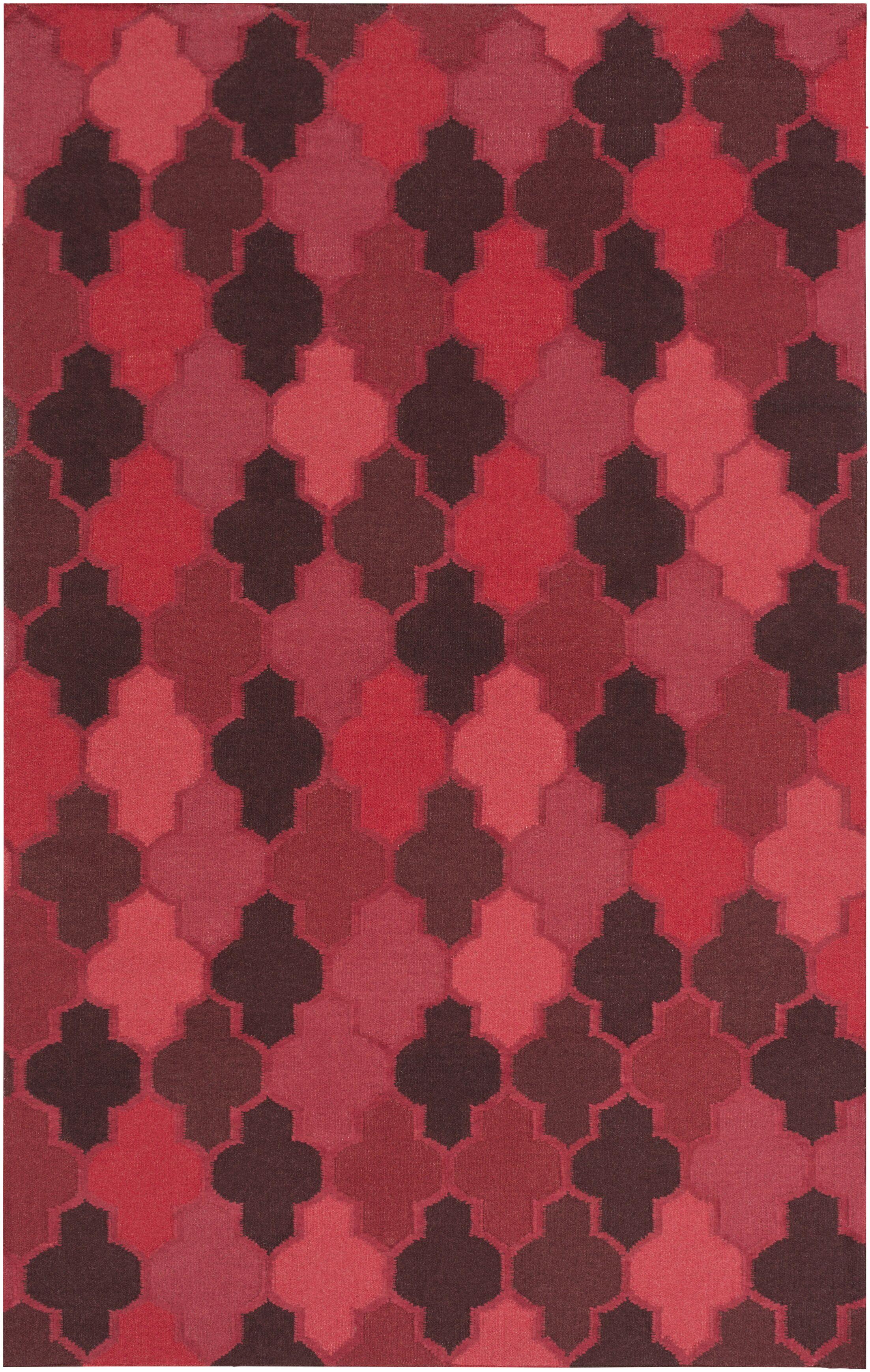 Crispin Cherry Geometric Area Rug Rug Size: Rectangle 3'6