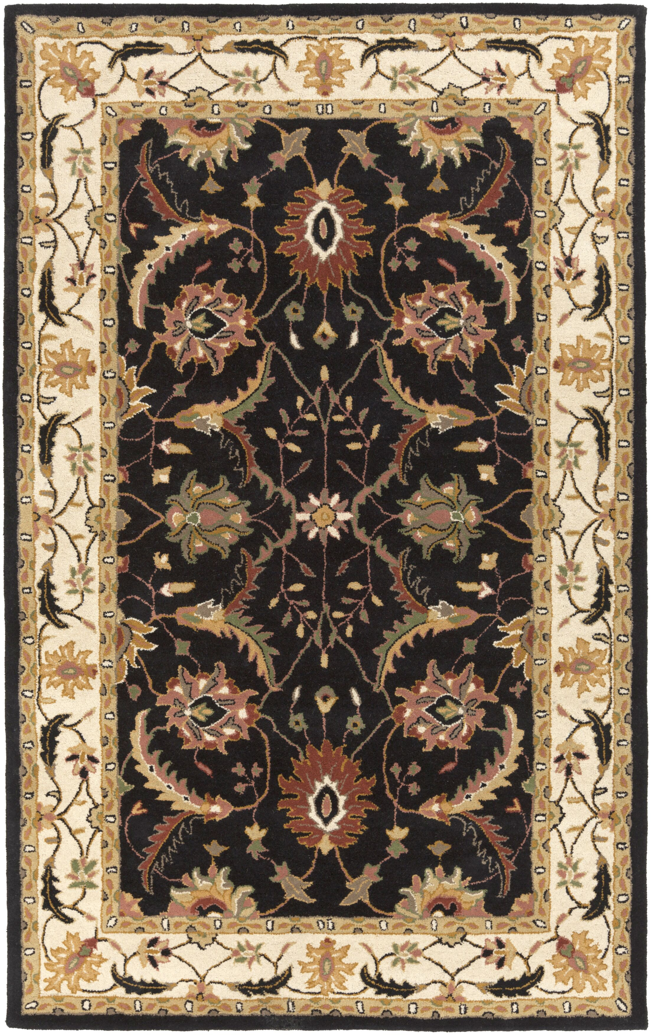 Vickers Hand-Tufted Black/Ivory Area Rug Rug Size: Rectangle 8' x 11'