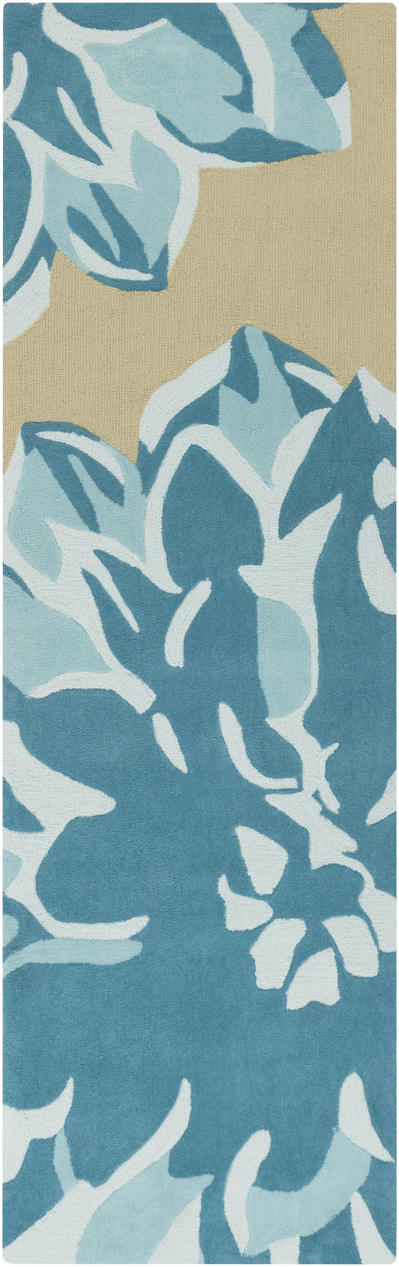 Butner Hand-Tufted Beige/Blue Area Rug Rug Size: Runner 2'6