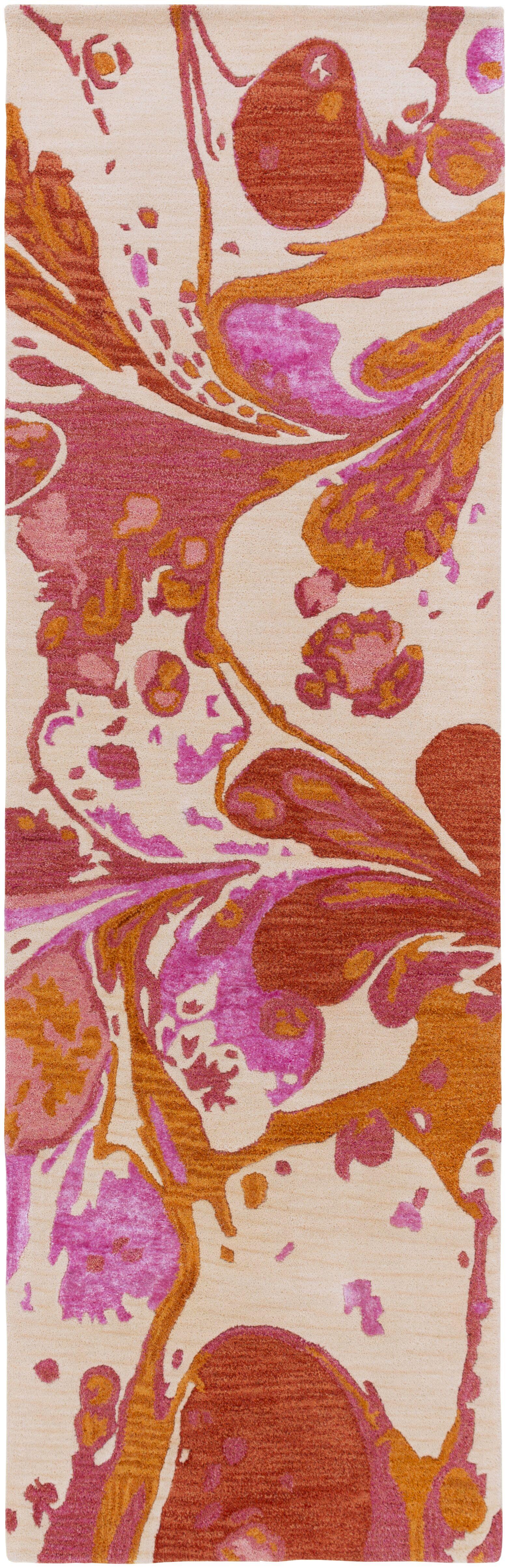 Brees Hand Tufted Wool Orange/Pink Area Rug Rug Size: Runner 2'6