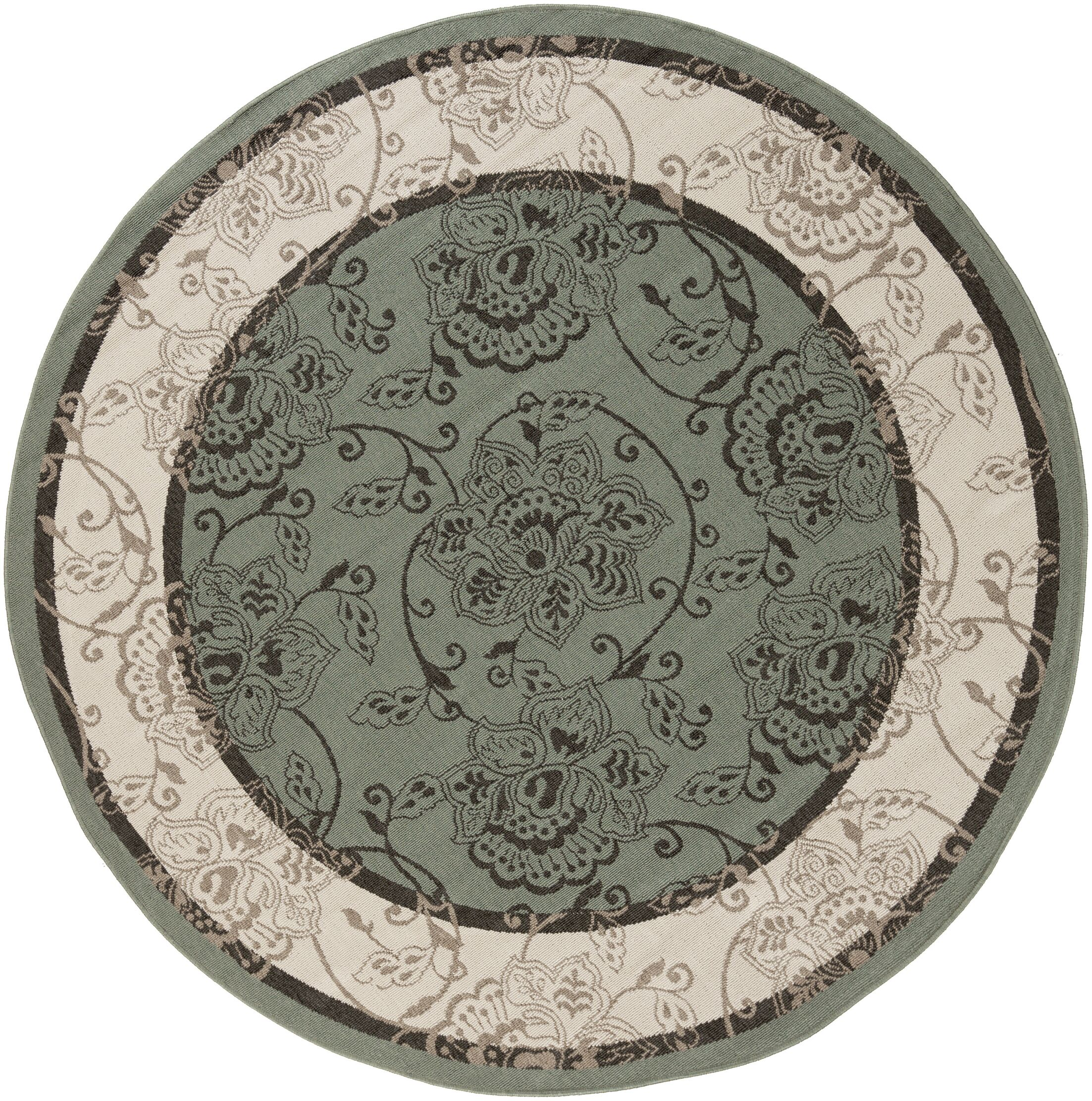 Pearce Moss/Ivory Indoor/Outdoor Area Rug Rug Size: Round 8'9