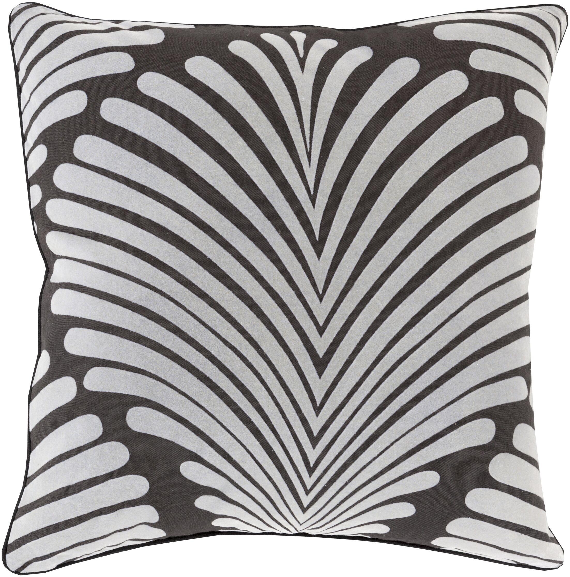 Linda Cotton Throw Pillow Color: Charcoal/Gray, Size: 22
