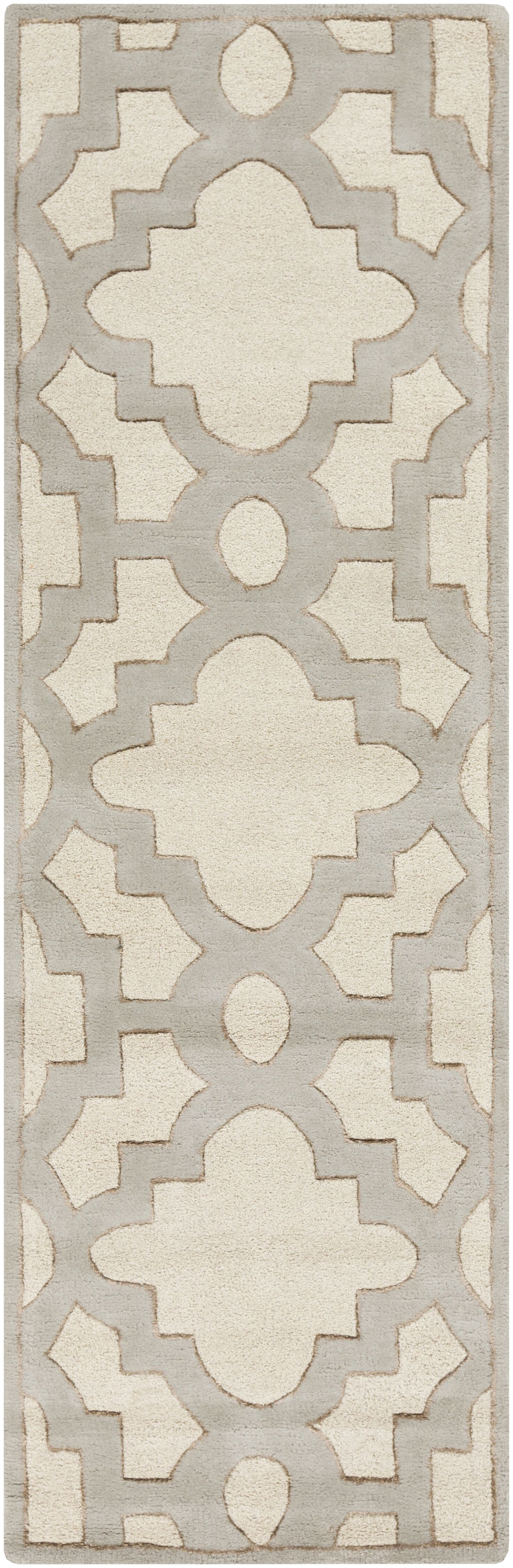Laurita Hand-Tufted Cream/Gray Area Rug Rug Size: Rectangle 3'3