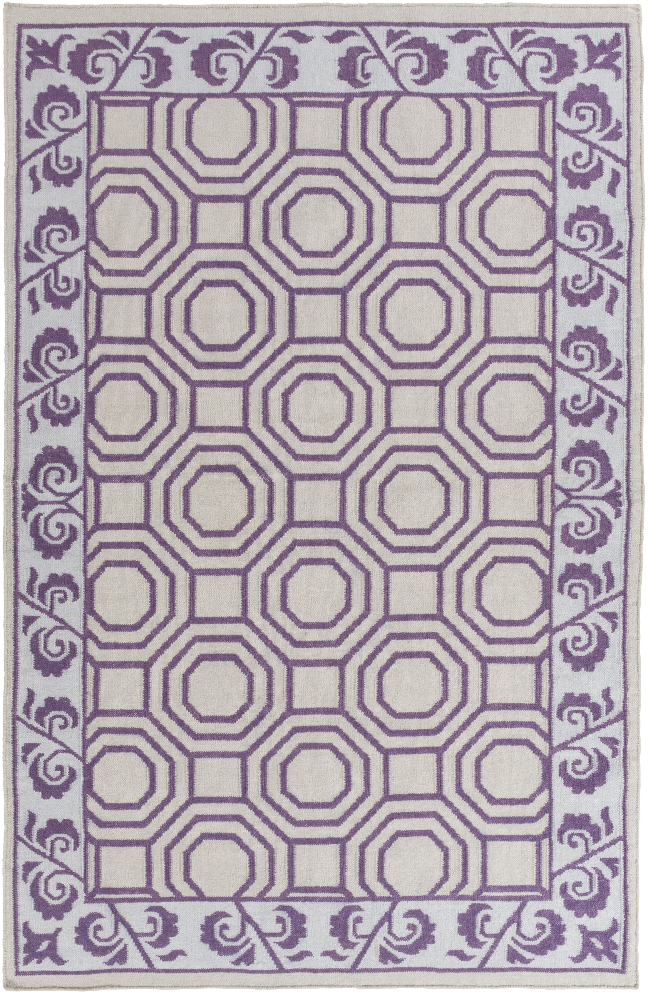 Morehead Light Gray/Violet Geometric Area Rug Rug Size: Rectangle 8' x 11'