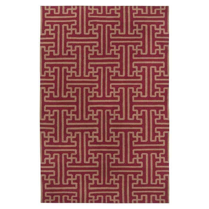 Brinda Brick/Gold Area Rug Rug Size: Rectangle 8' x 11'