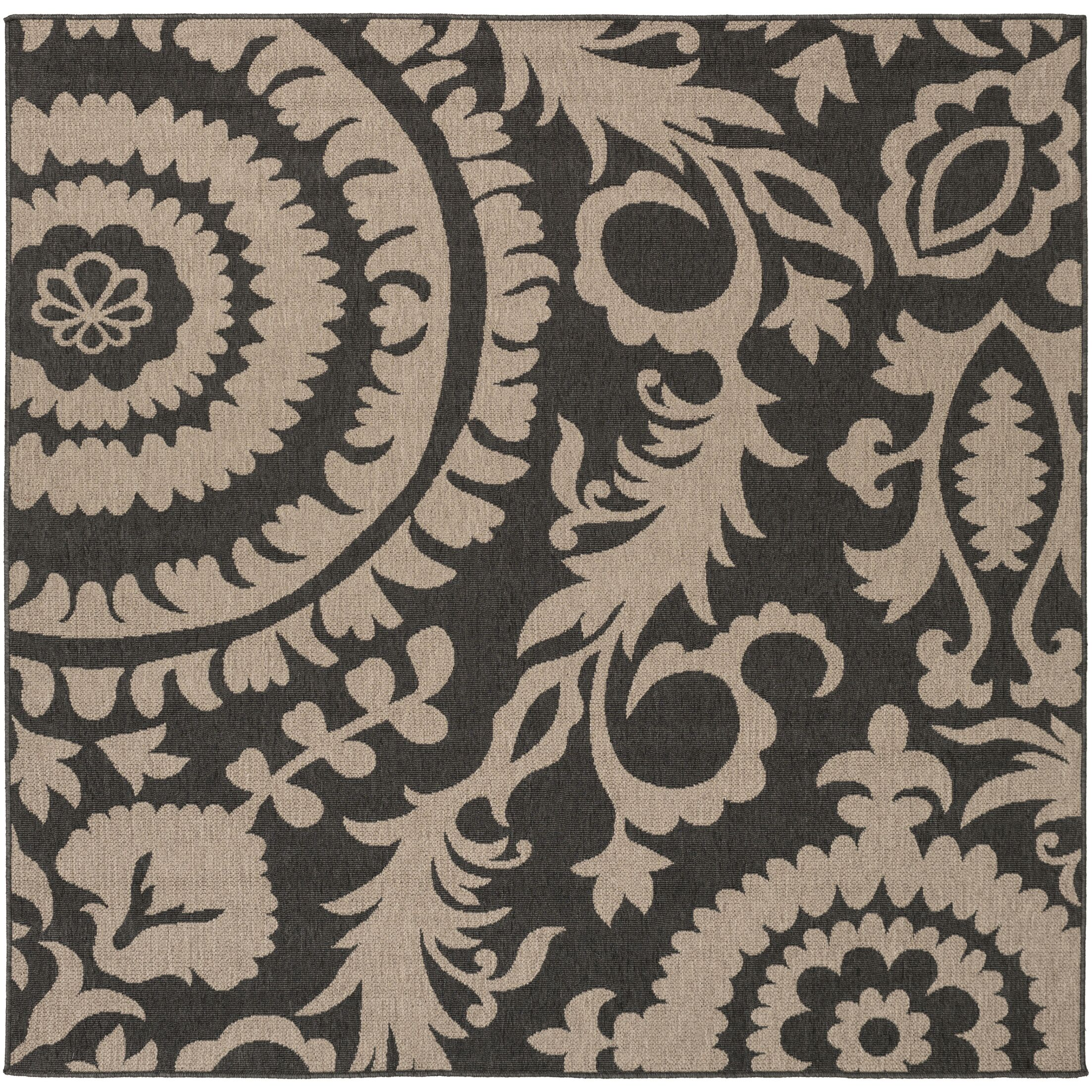 Hattie Pewter & Natural Indoor/Outdoor Rug Rug Size: Square 7'3