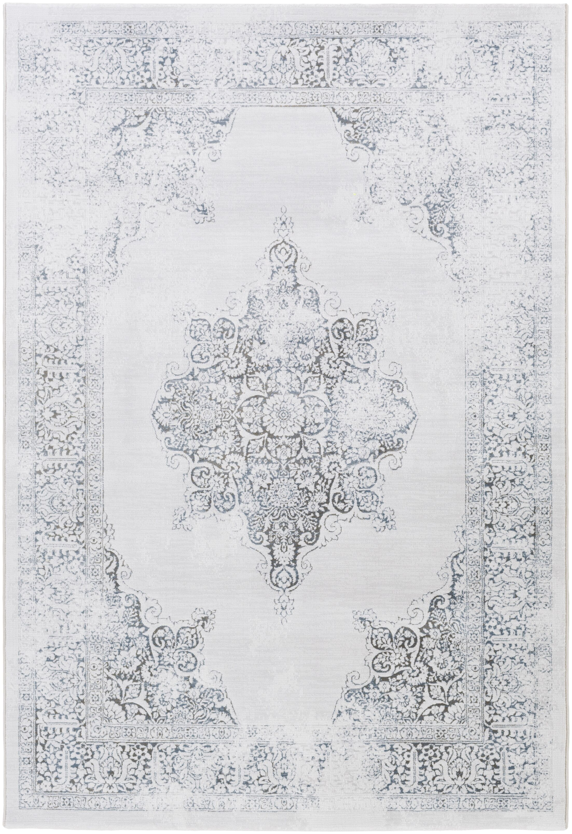 Pickrell Distressed White/Light Gray Area Rug Rug Size: Rectangle 9'2