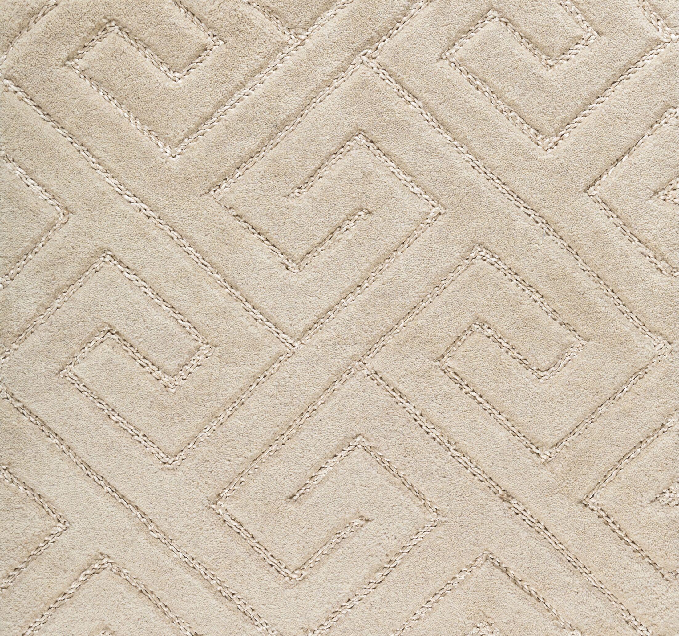 Hereford Geometric Hand-Tufted Beige Area Rug Rug Size: Rectangle 8' x 10'