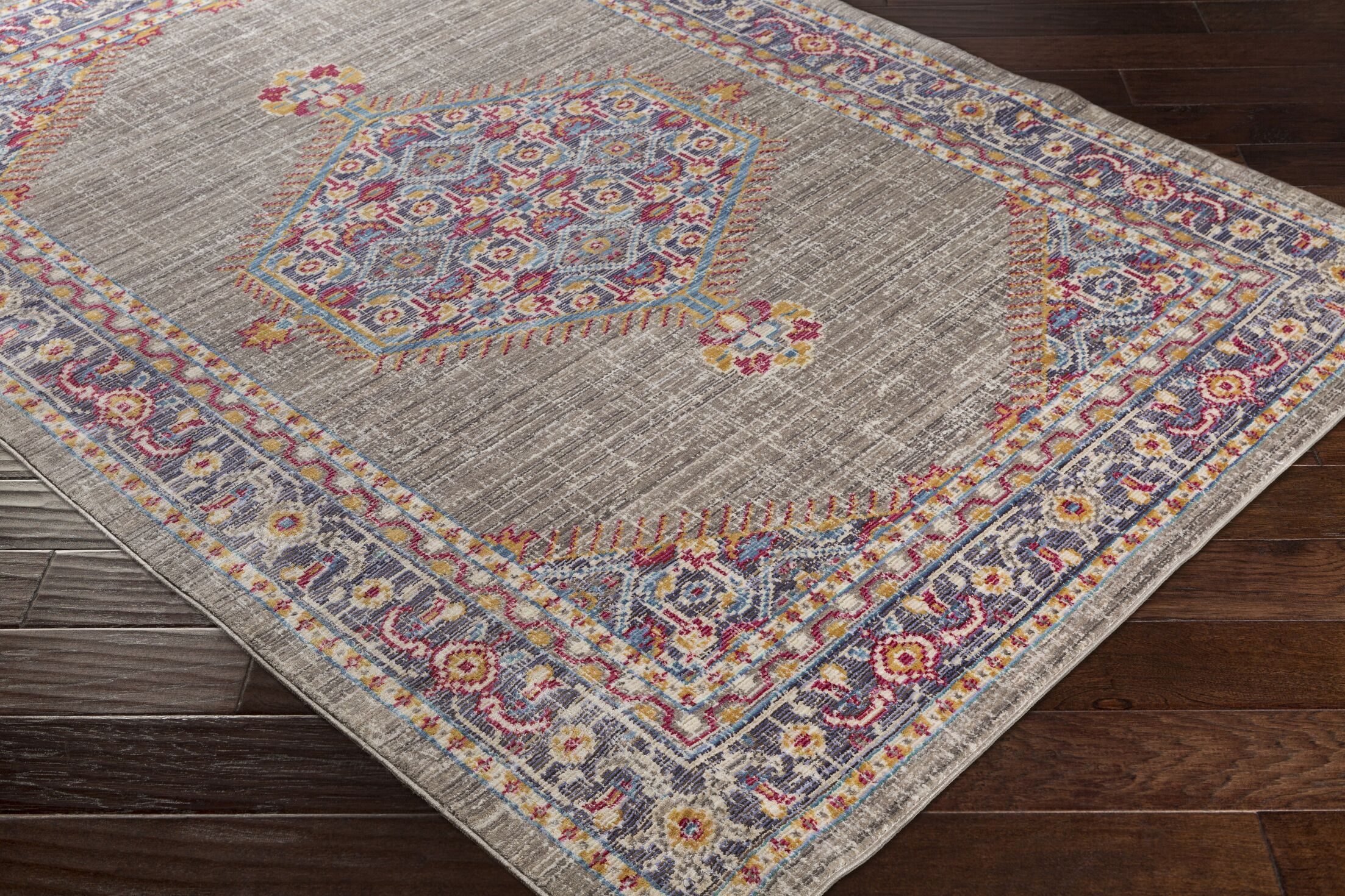 Almaraz Distressed Violet/Taupe Area Rug