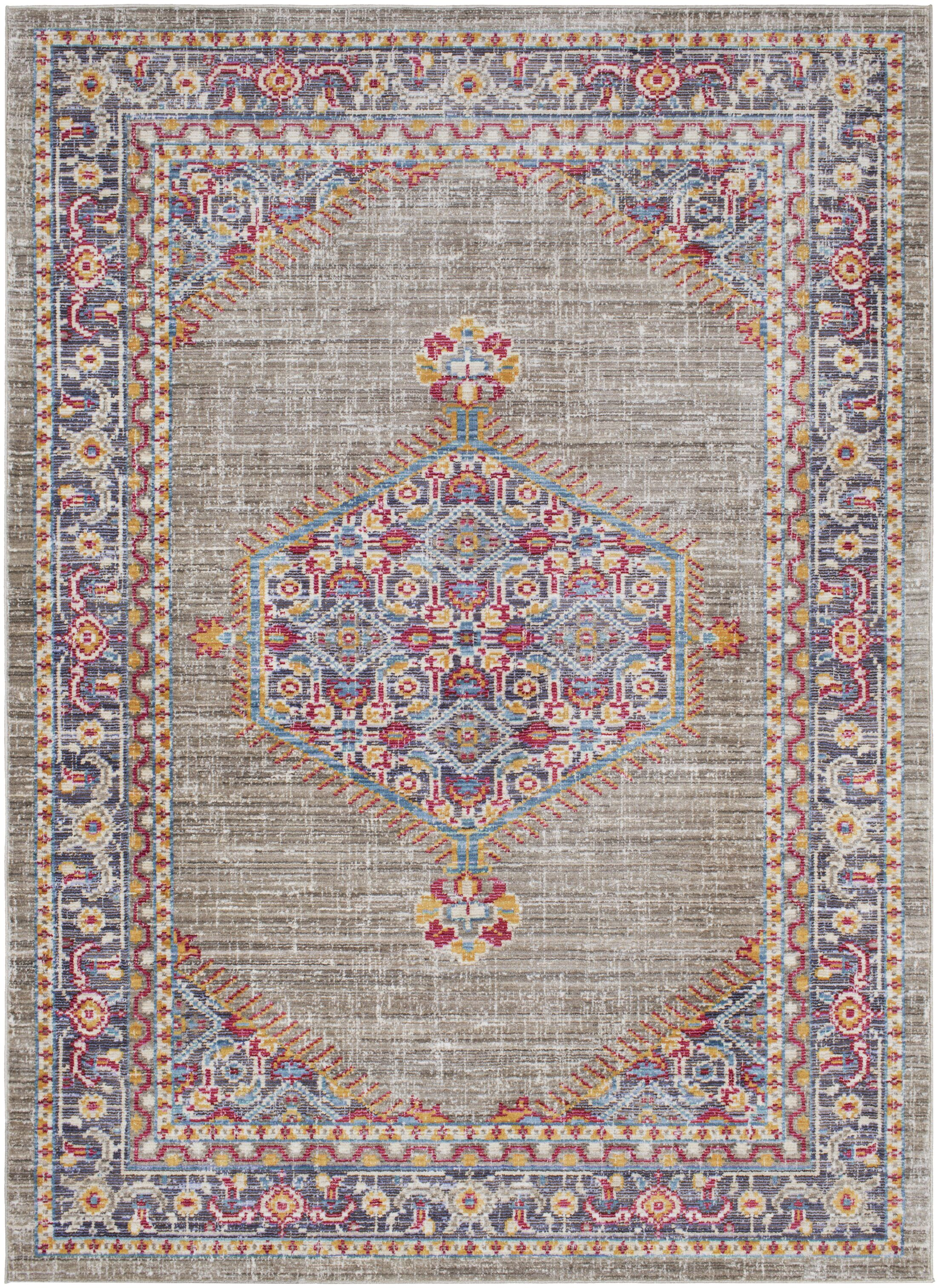 Fields Contemporary Violet/Taupe Area Rug Rug Size: Rectangle 5'3