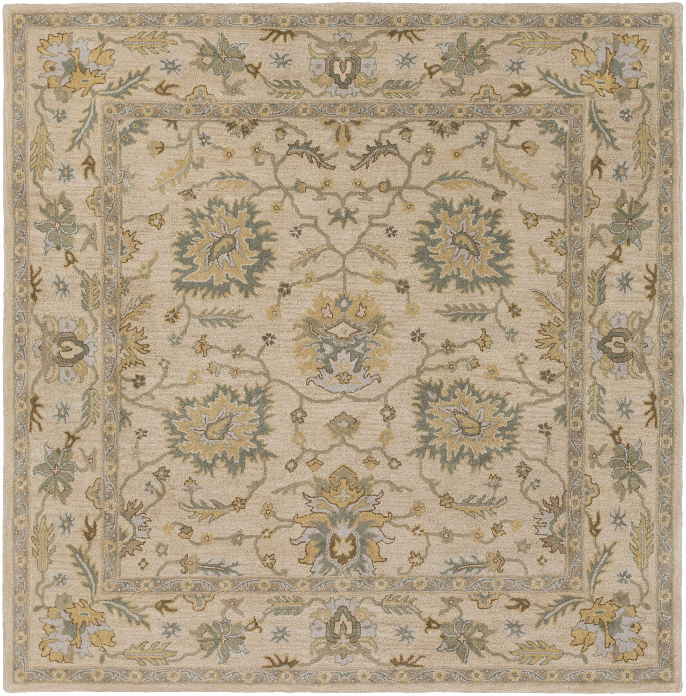 Millwood Hand-Tufted Green/Brown Area Rug Rug Size: Square 4'