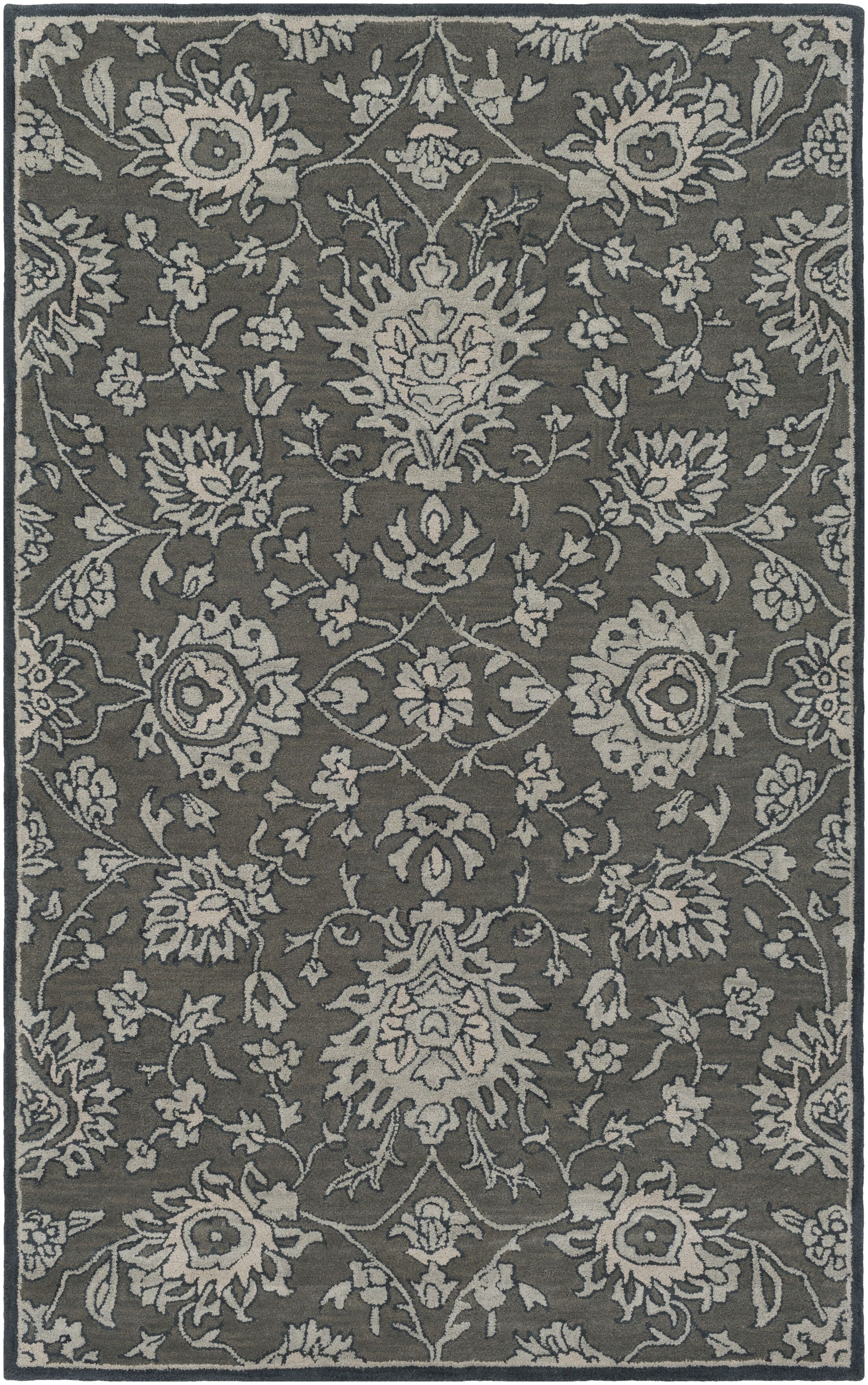 Keefer Hand-Tufted Wool Dark Brown Area Rug Rug Size: Rectangle 3'3