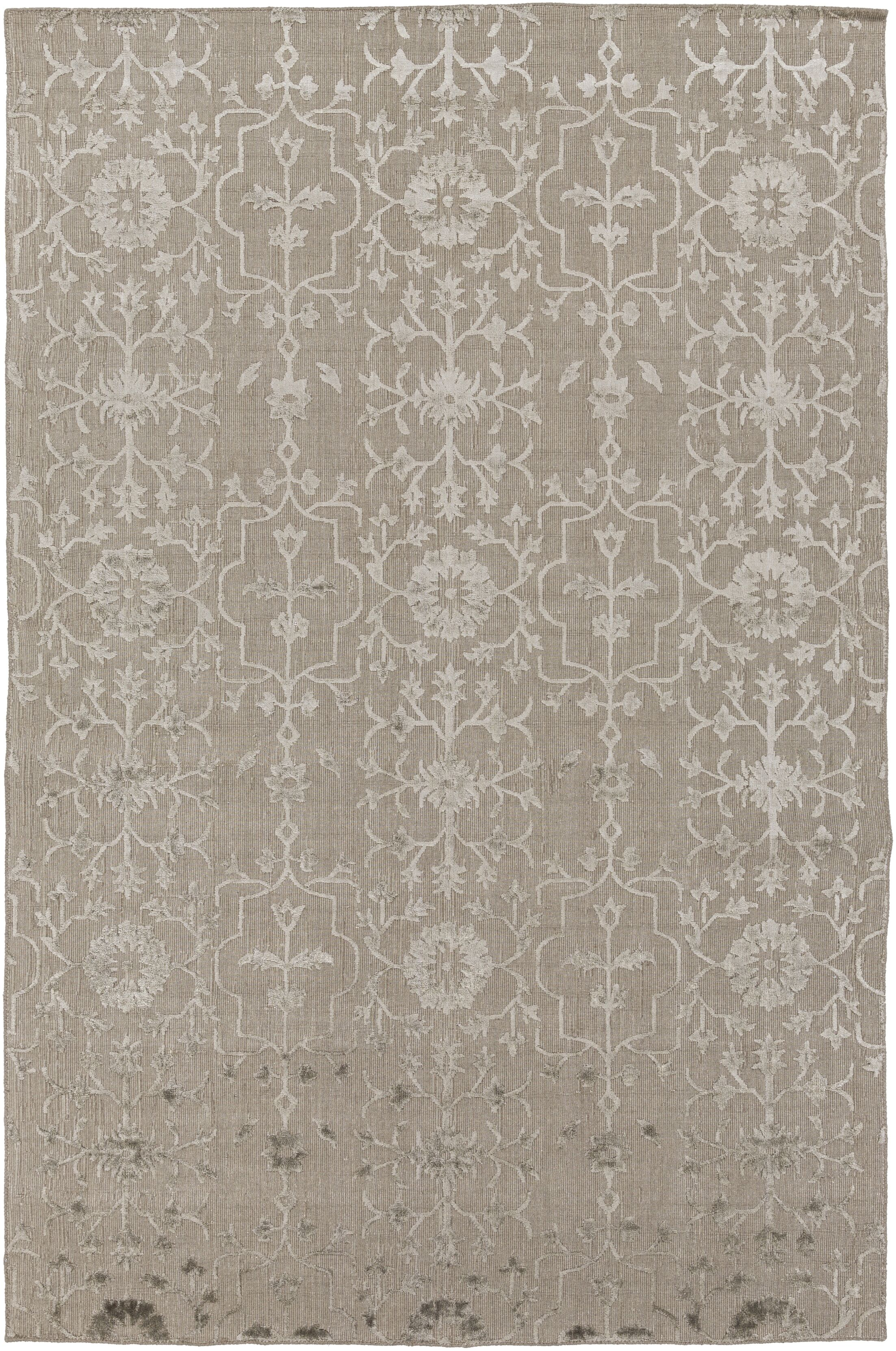 Anwen Hand-Knotted Taupe/Camel Area Rug Rug Size: Rectangle 9' x 13'