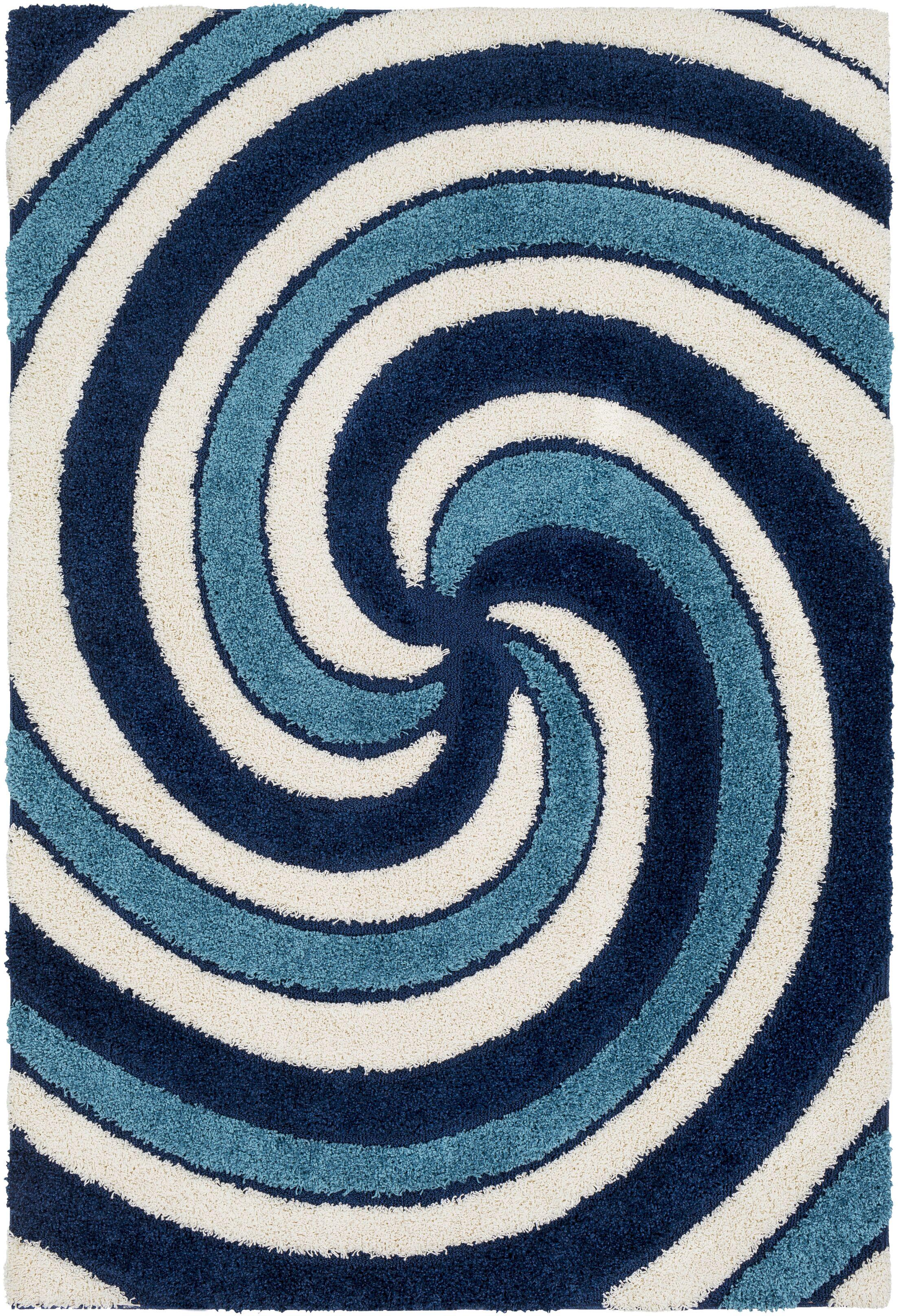 Marketfield Soft Swirly Shag Blue Area Rug Rug Size: Rectangle 7'10