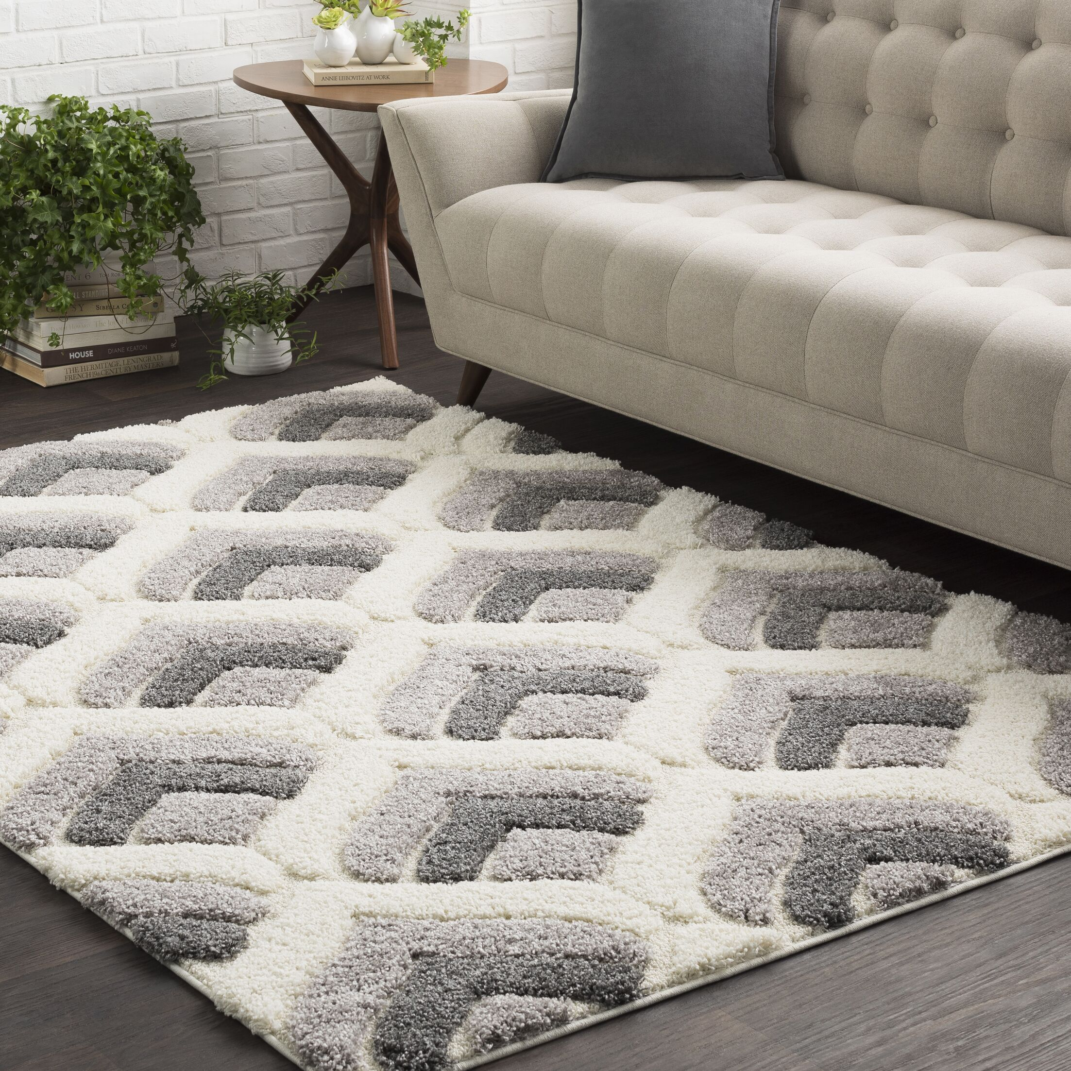 Quincy Soft Patterned Shag White/Gray Area Rug Rug Size: Rectangle 7'10