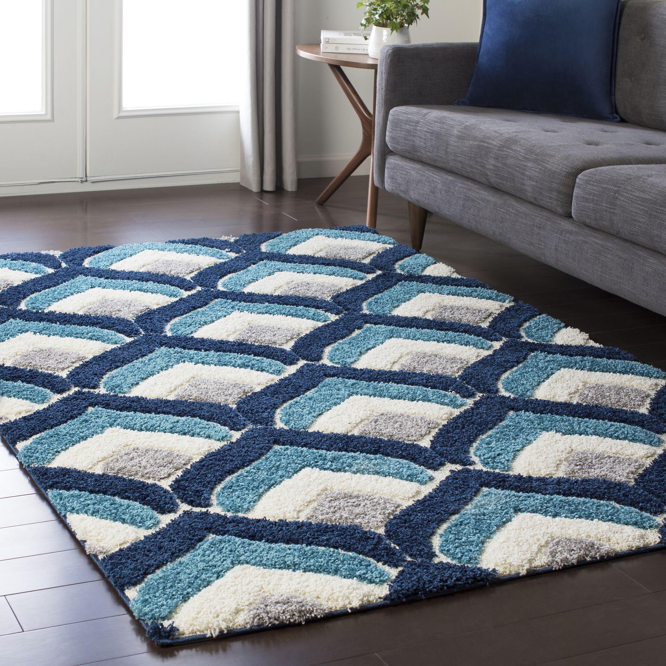 Quincy Soft Patterned Shag Blue/Gray Area Rug Rug Size: Rectangle 7'10