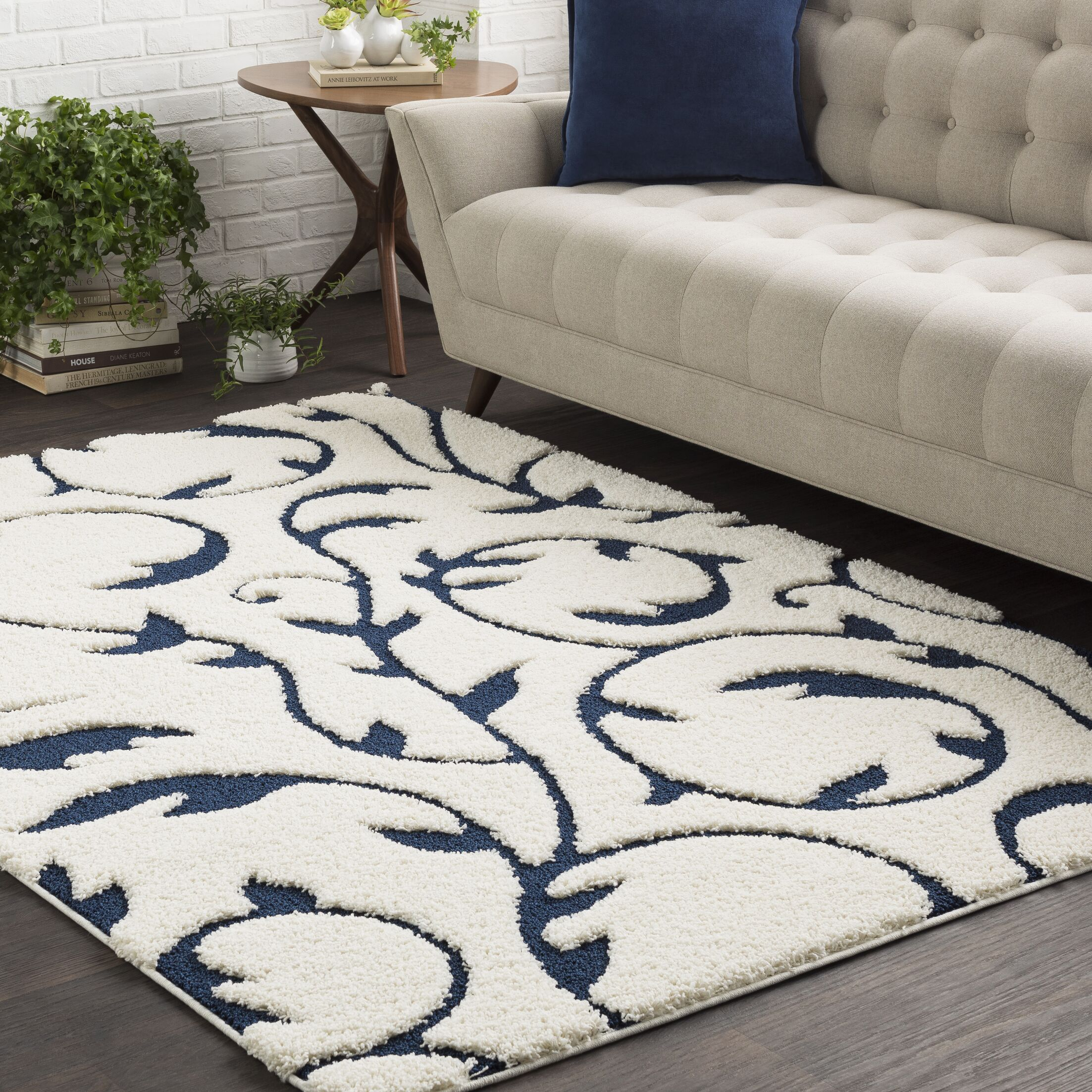 Murdock Soft Floral Shag Blue/White Area Rug Rug Size: Rectangle 7'10